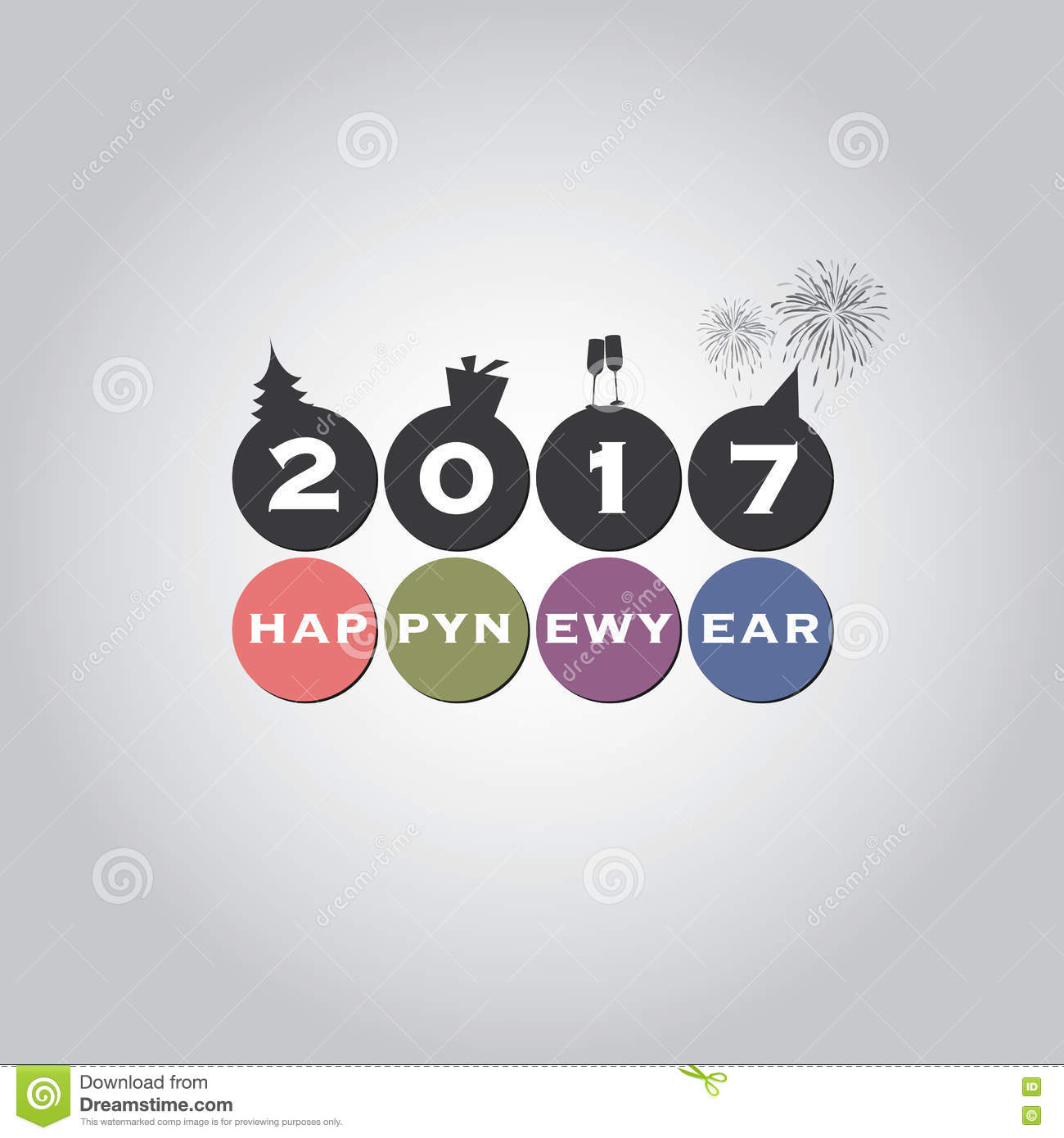 New Year Card Background, Creative Design - 2017 Stock Image - Image ...