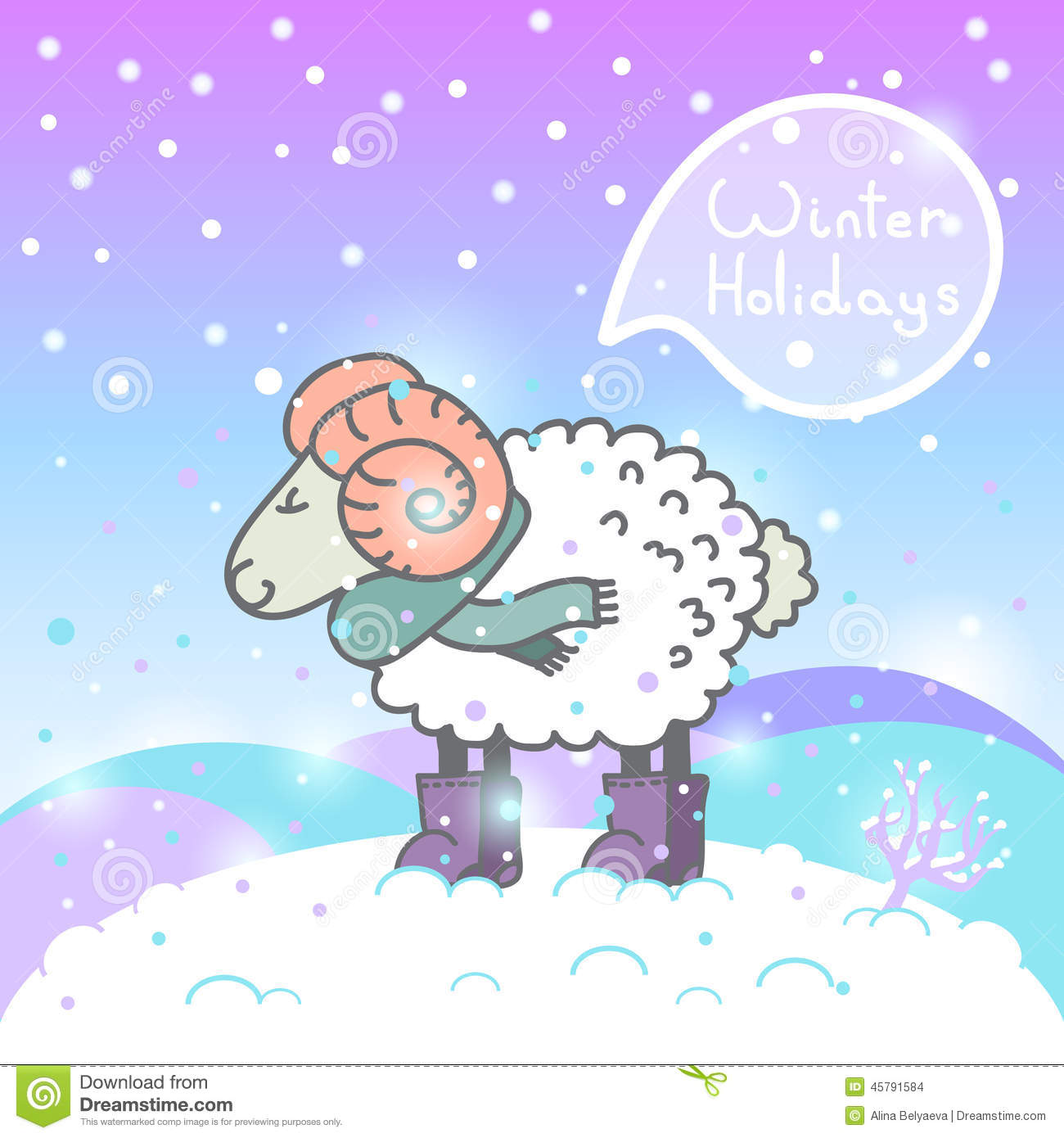 2015 new year card with cartoon sheep and speech