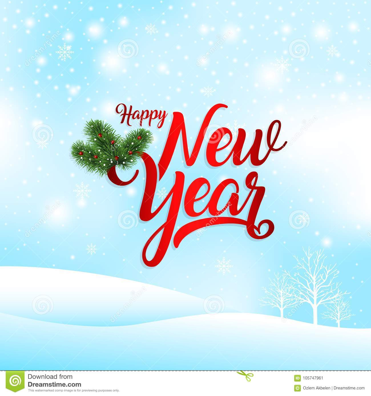 Happy New Year Greeting Card Vector Illustration Stock Vector