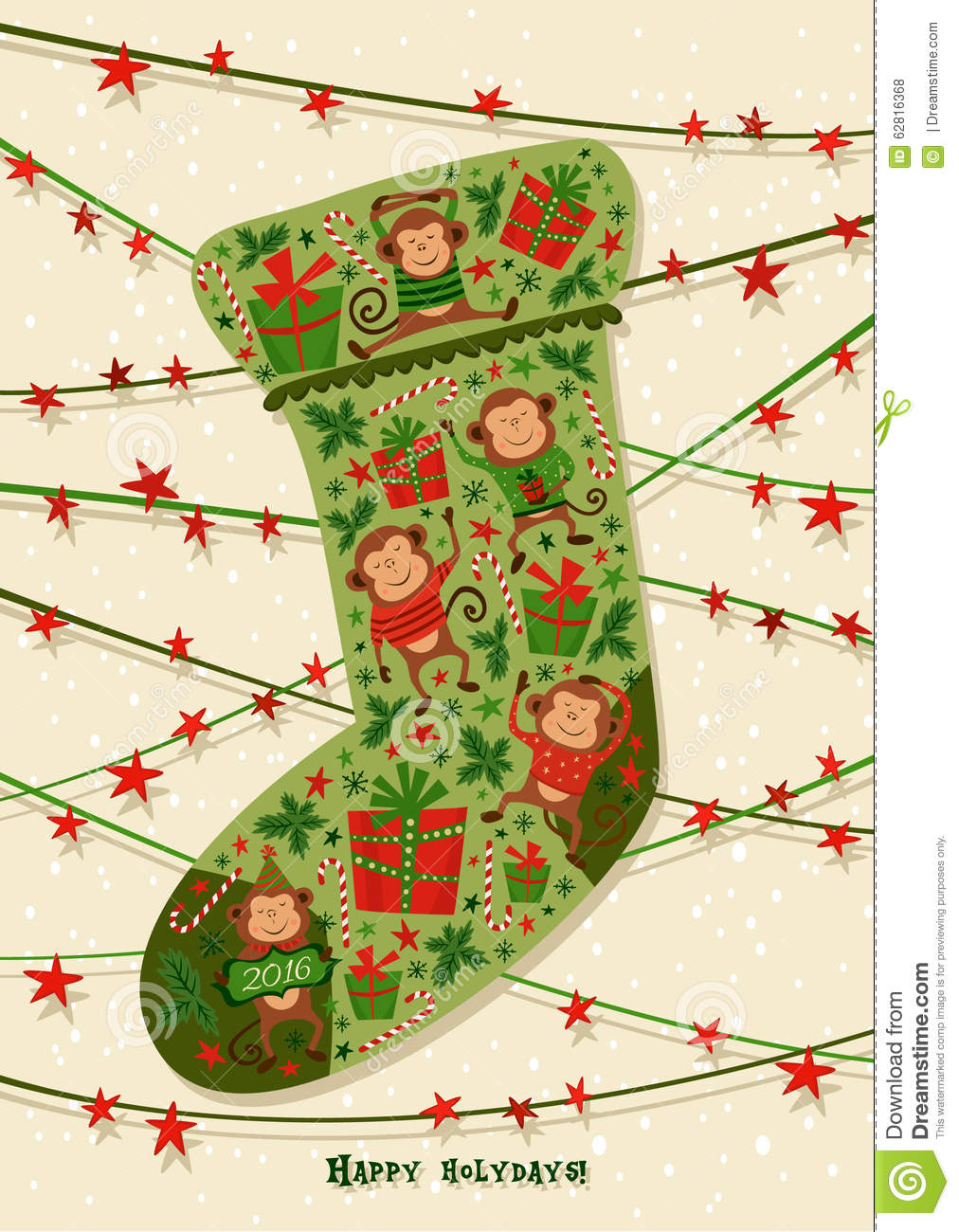 Christmas Calendar Illustration : New year card with christmas sock illustrations good for