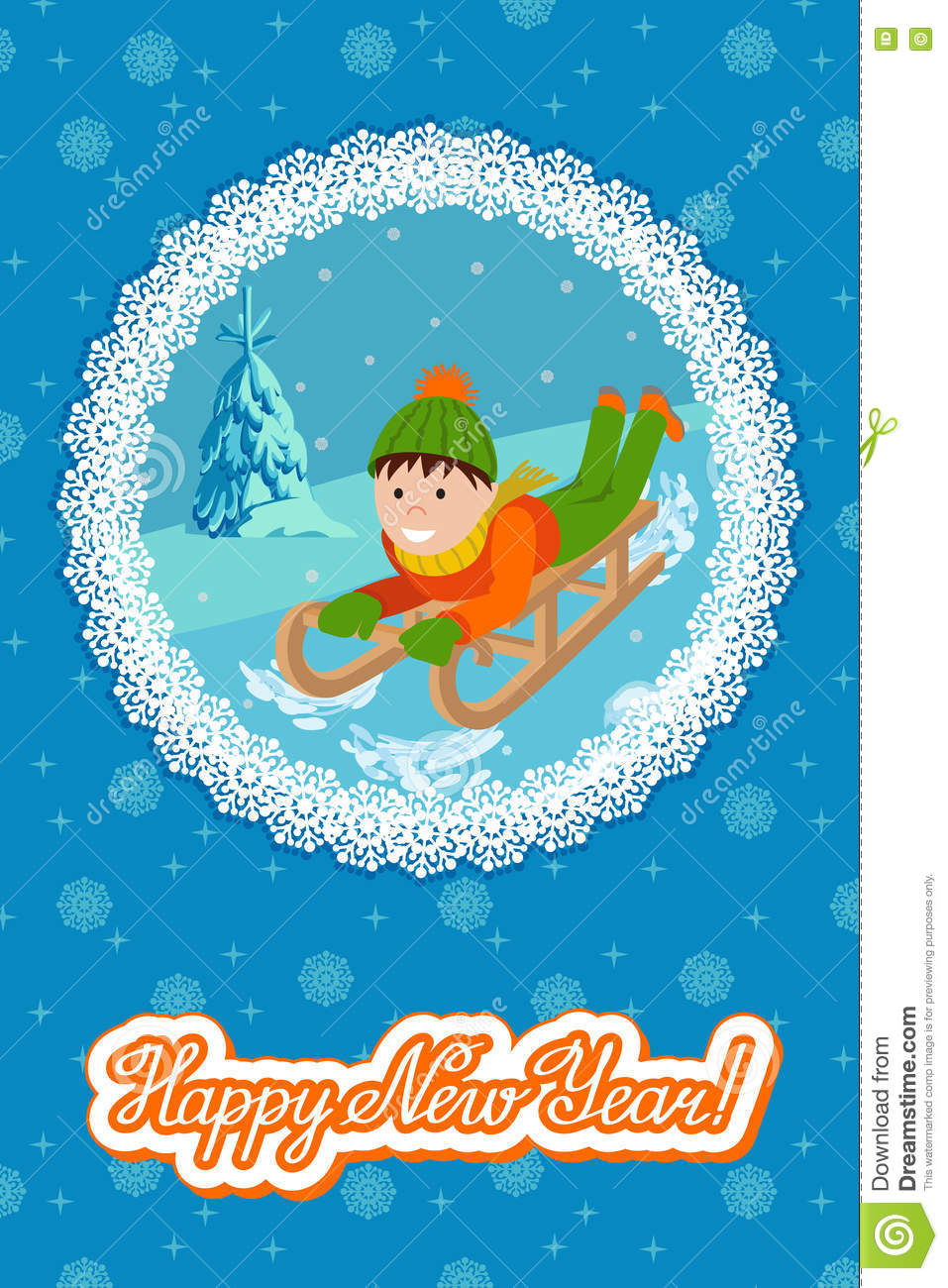 new year card cute child on snow sledding vector illustration with lettering congratulation