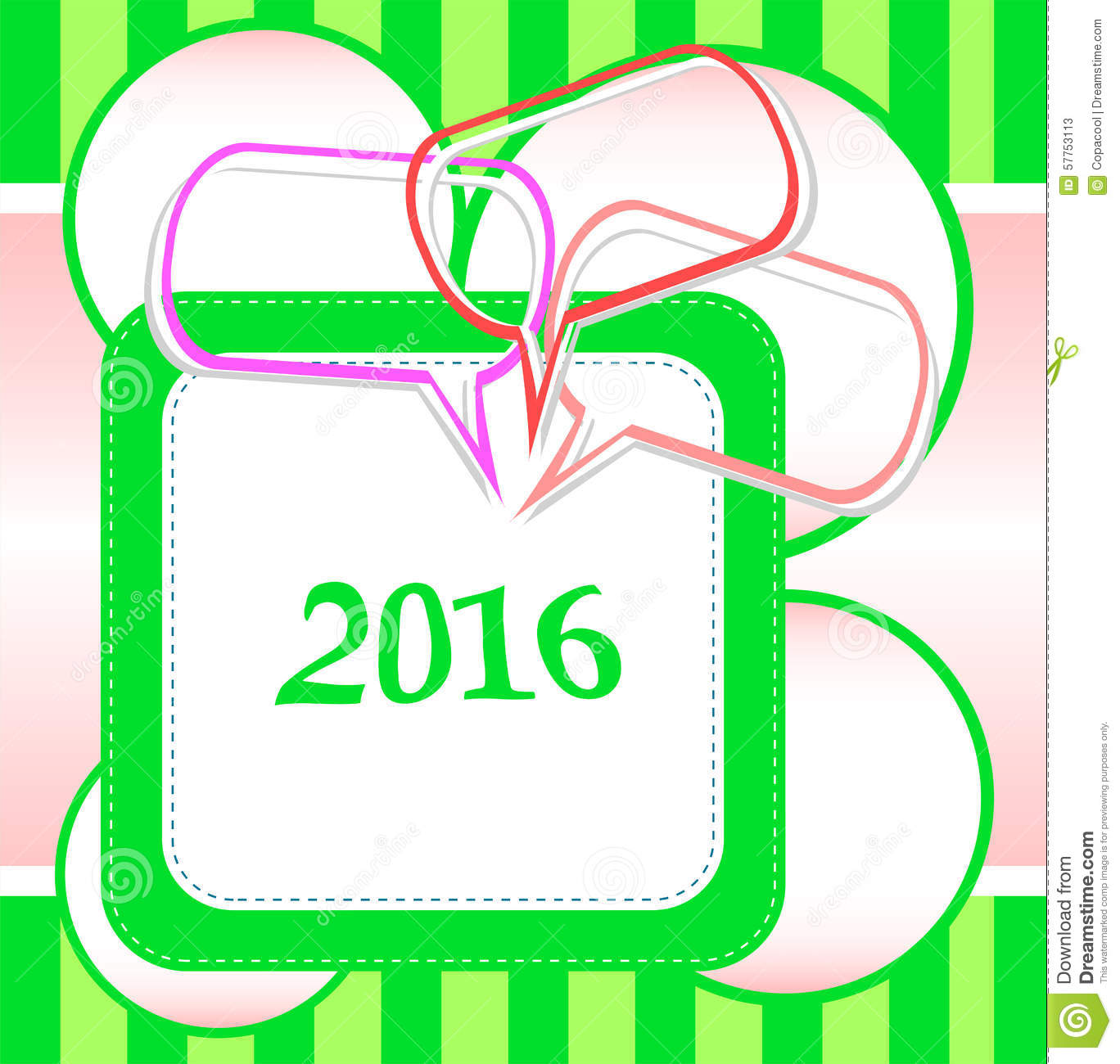 2016 New Year Card Design With Abstract Speech Bubbles Set Stock ...