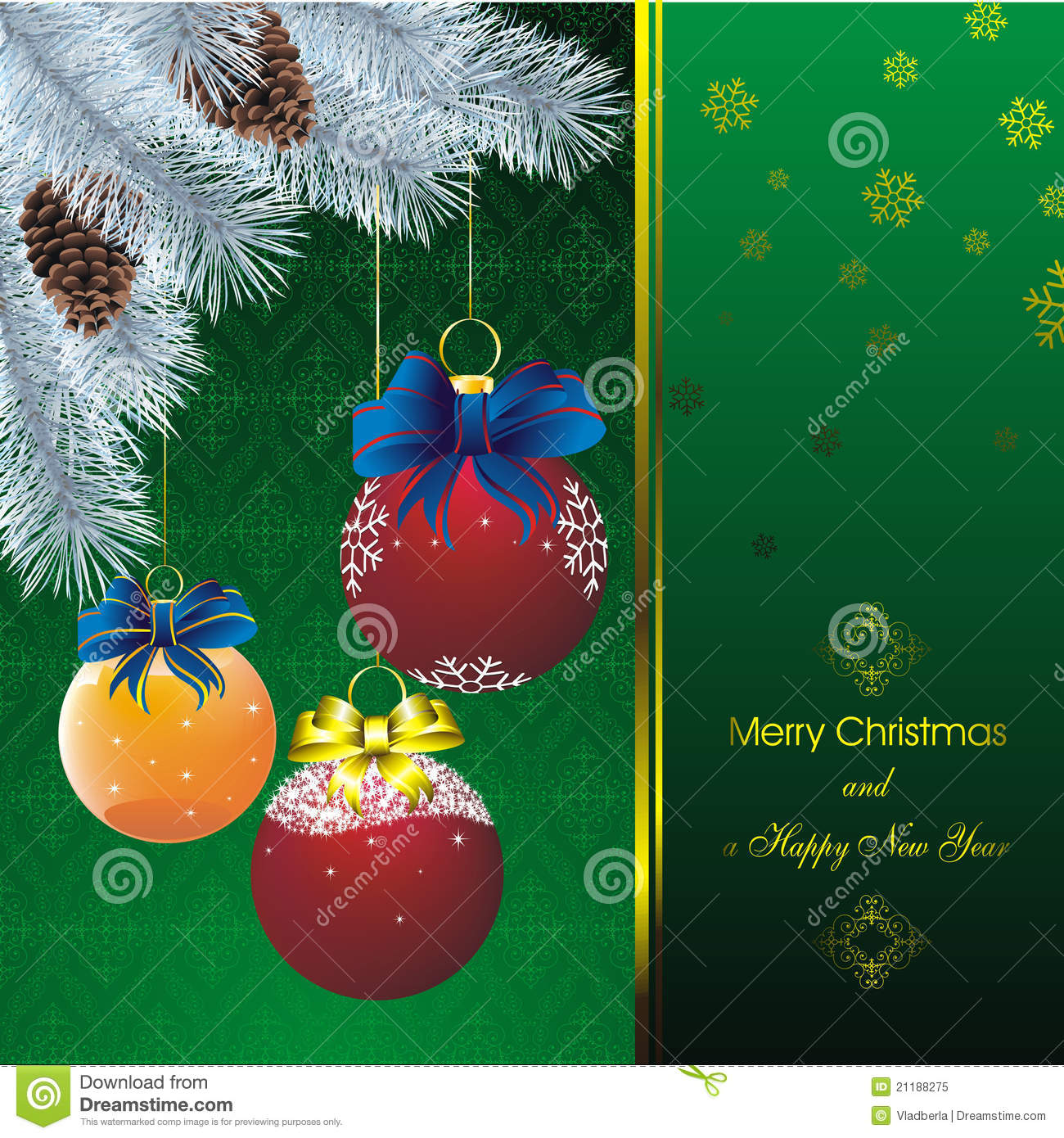 New year card with fir on orient green pattern