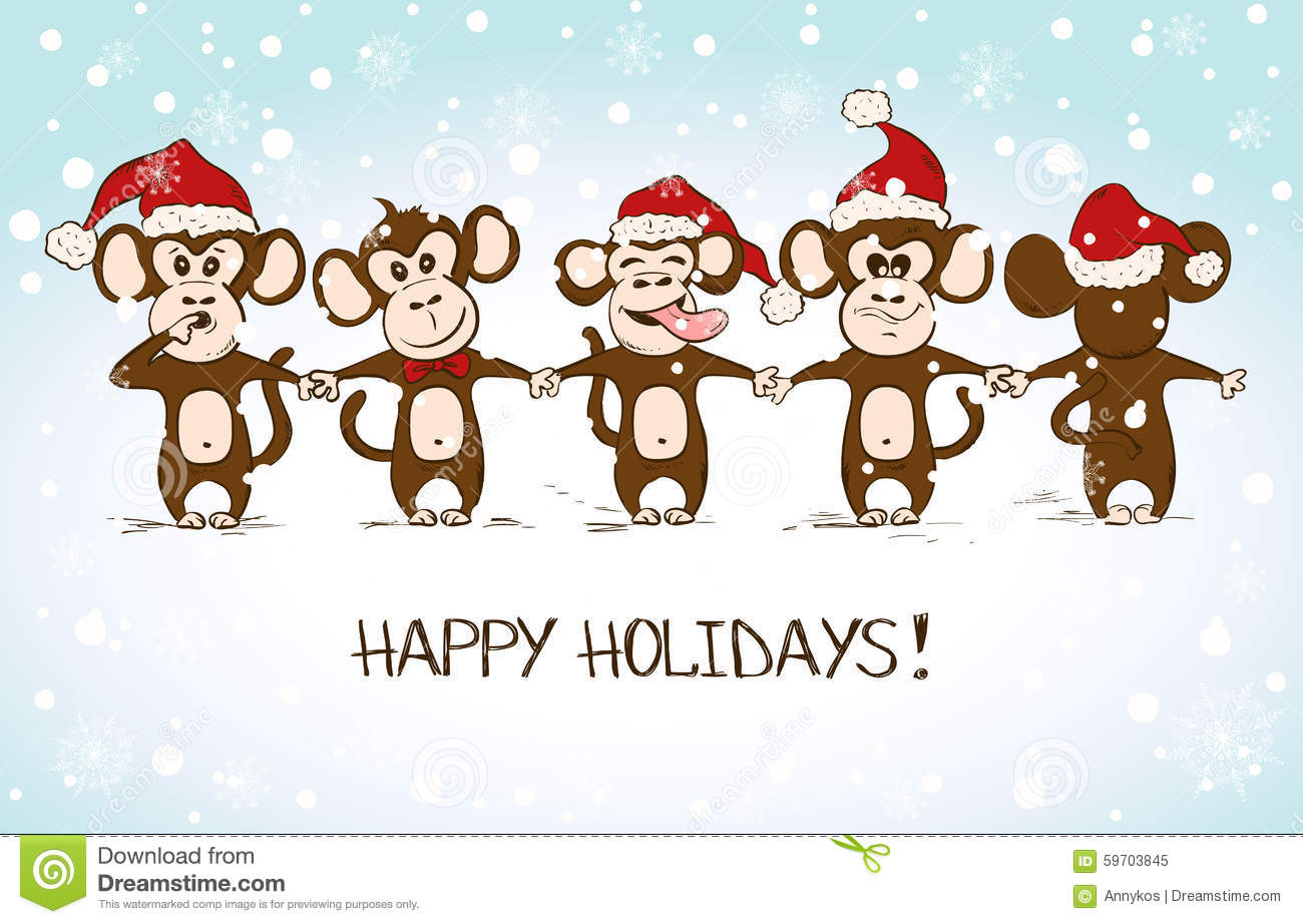 new year card with funny monkey holding hands