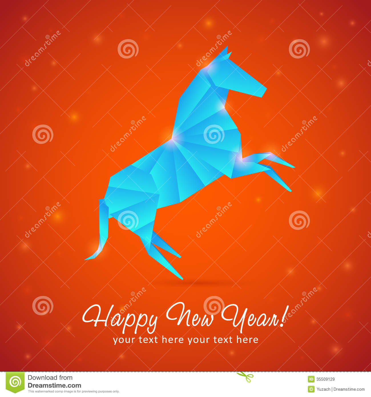 new year card of horse made of snowflakes royalty free