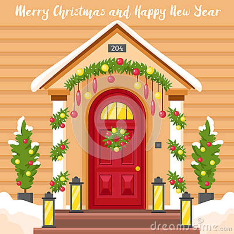New Year Card With House Decorated For Christmas Stock Vector