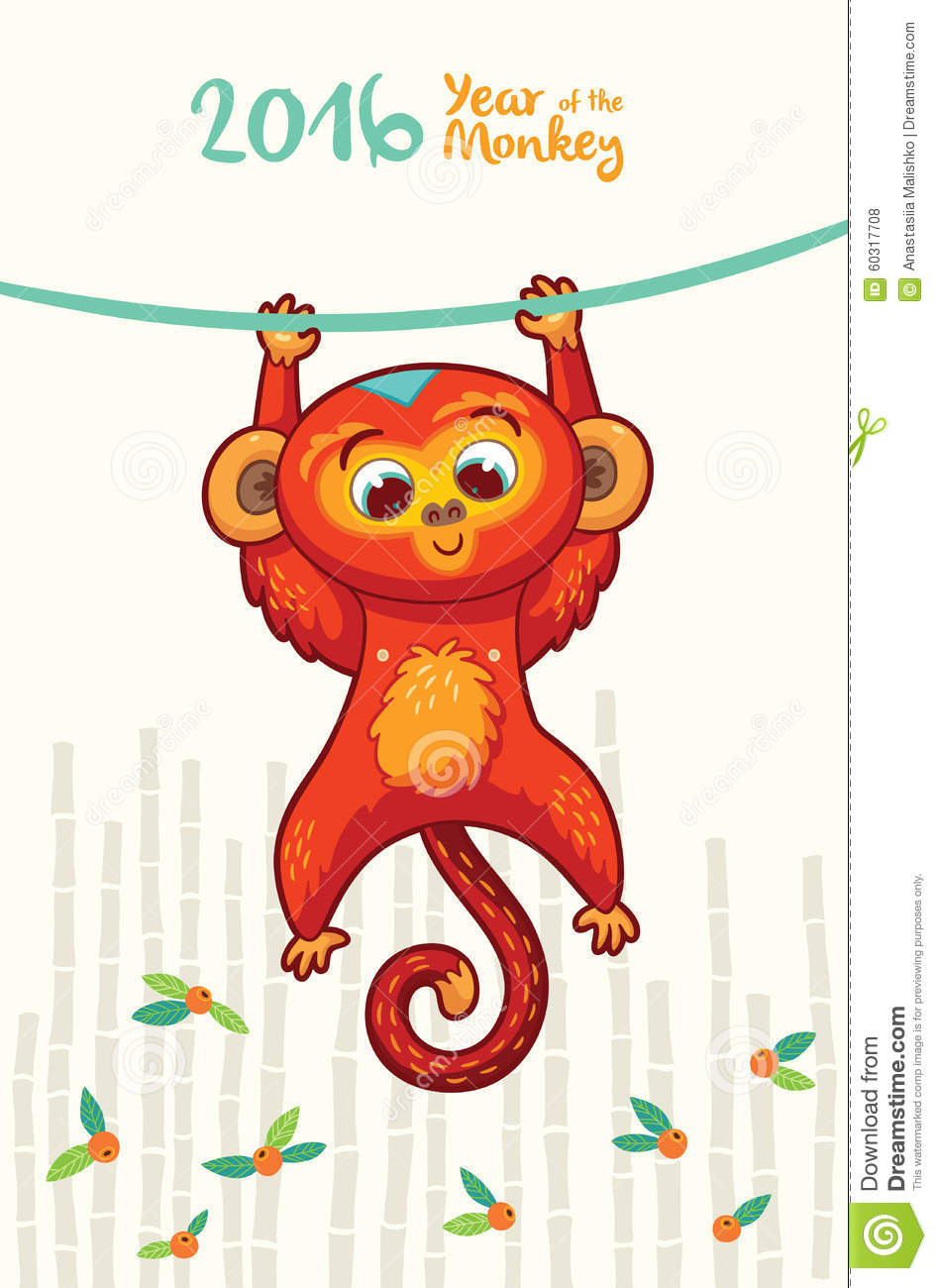 New Year Card With Red Monkey For Year 2016 Stock Vector - Image ...