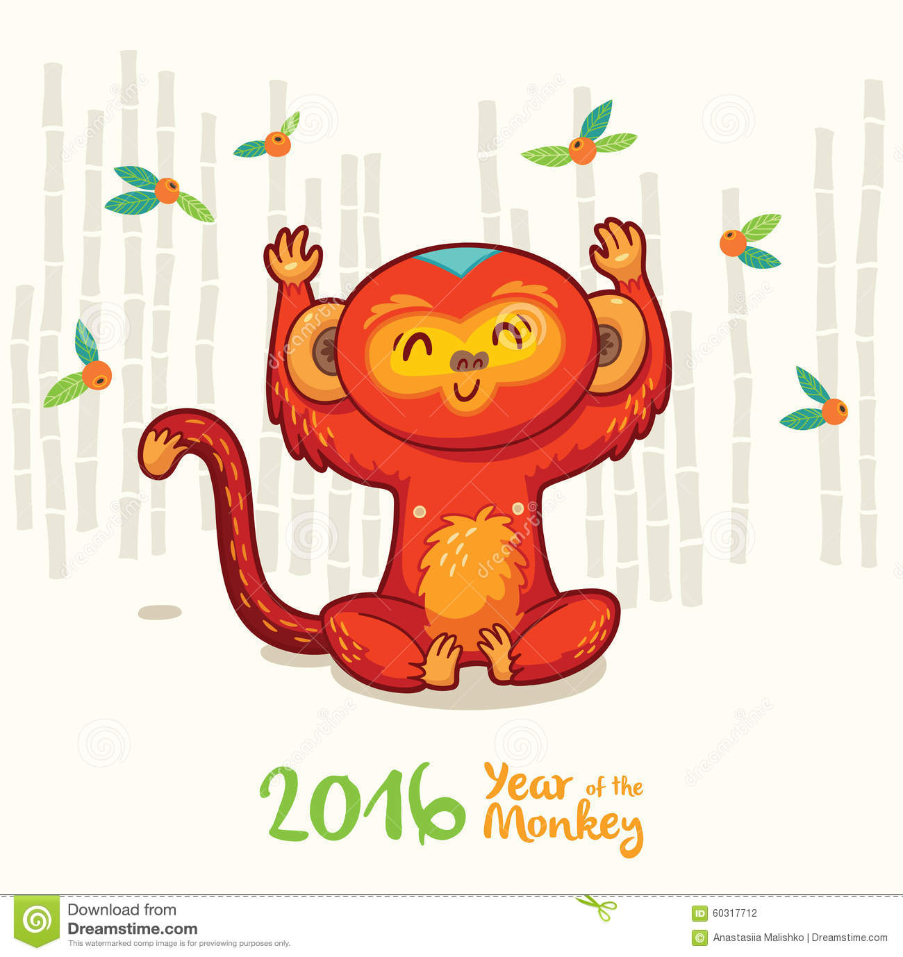 Chinese Calendar Illustration : New year card with red monkey for stock vector