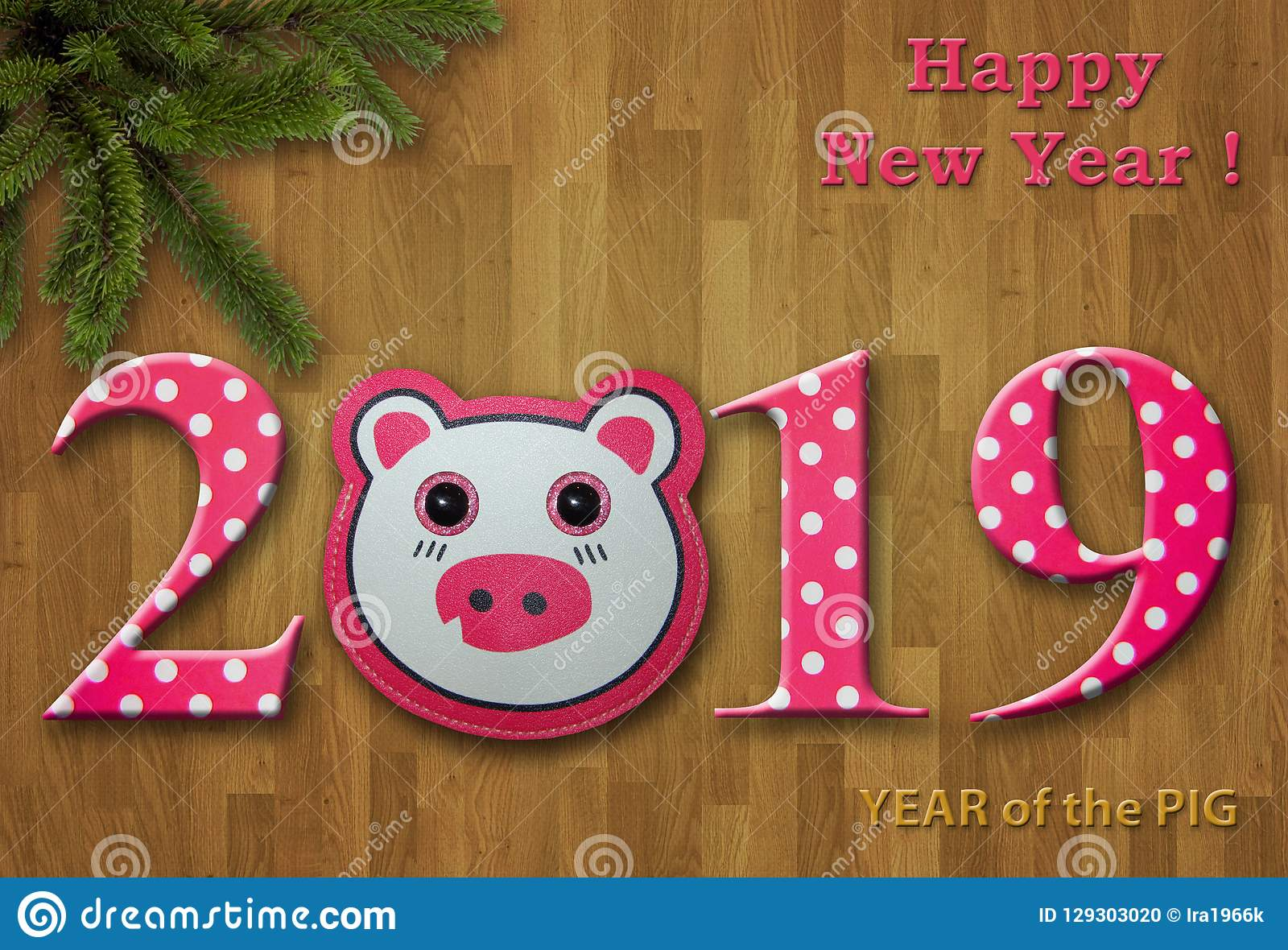 new year 2019 card with a toy pig 1