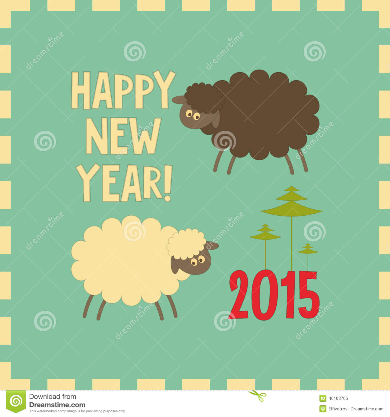 new year card with cute cartoon black and white sheeps symbol of 2015 year year of the sheep vector illustration