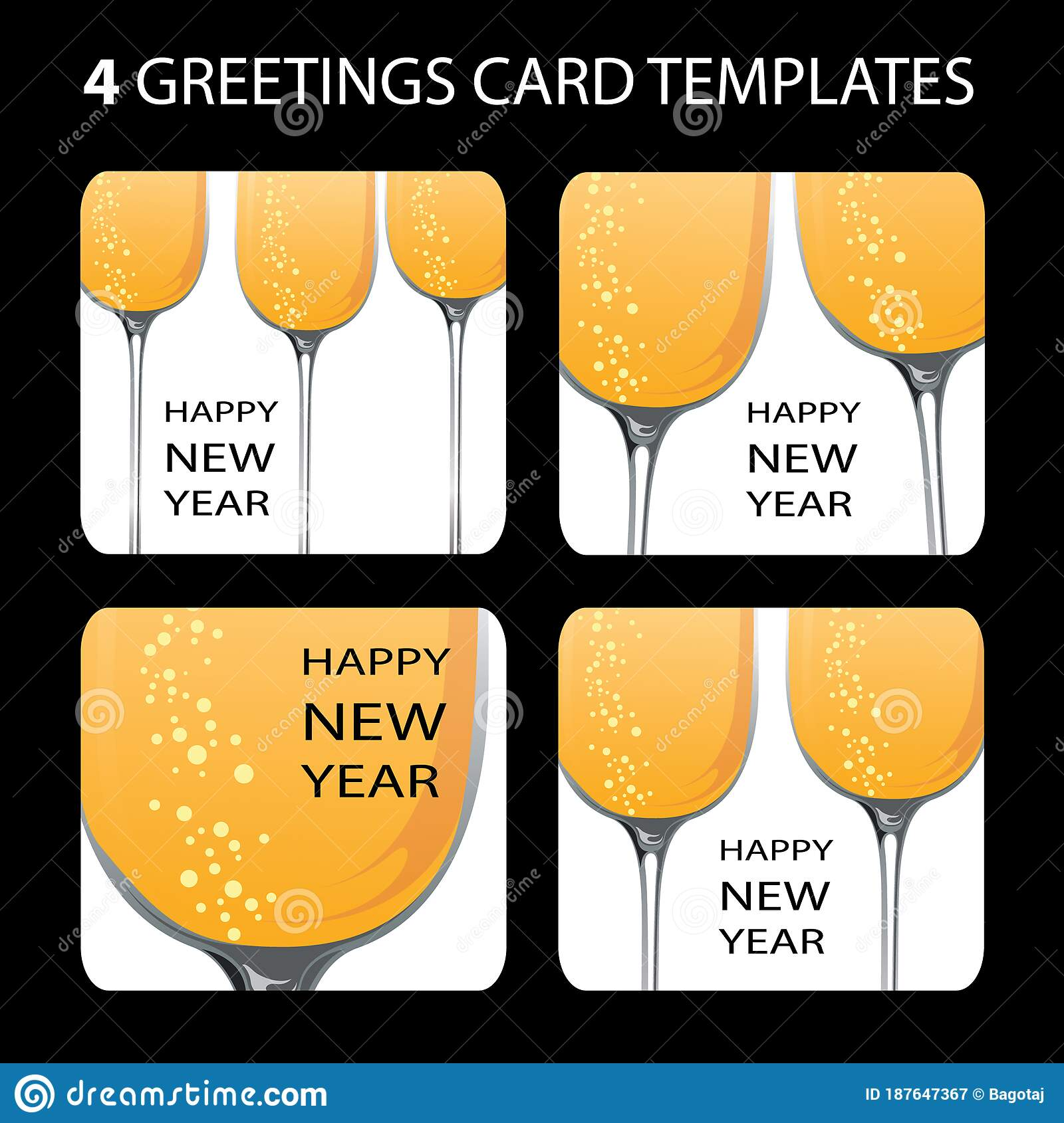 4 New Year Cards stock vector. Illustration of branch ...