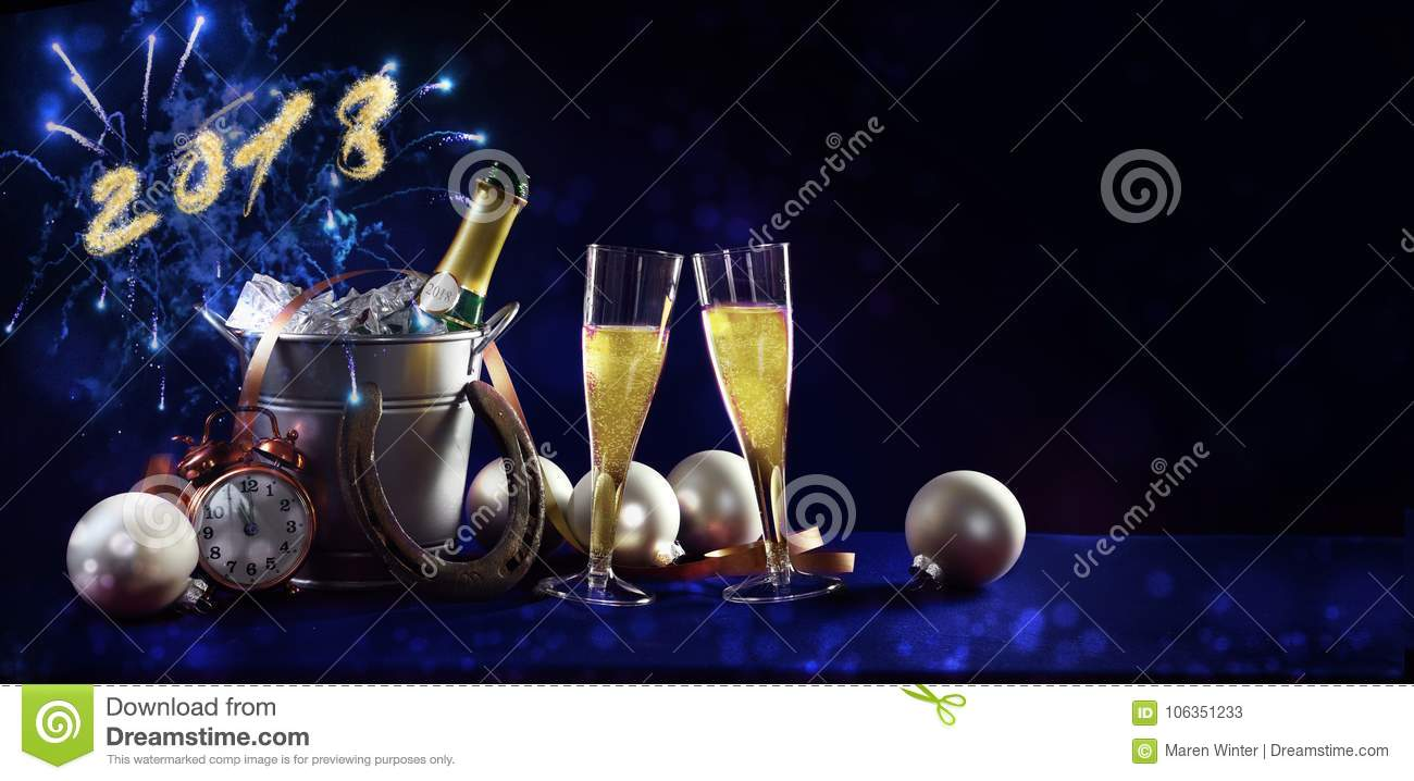 new year celebration background banner with text 2018 champagne
