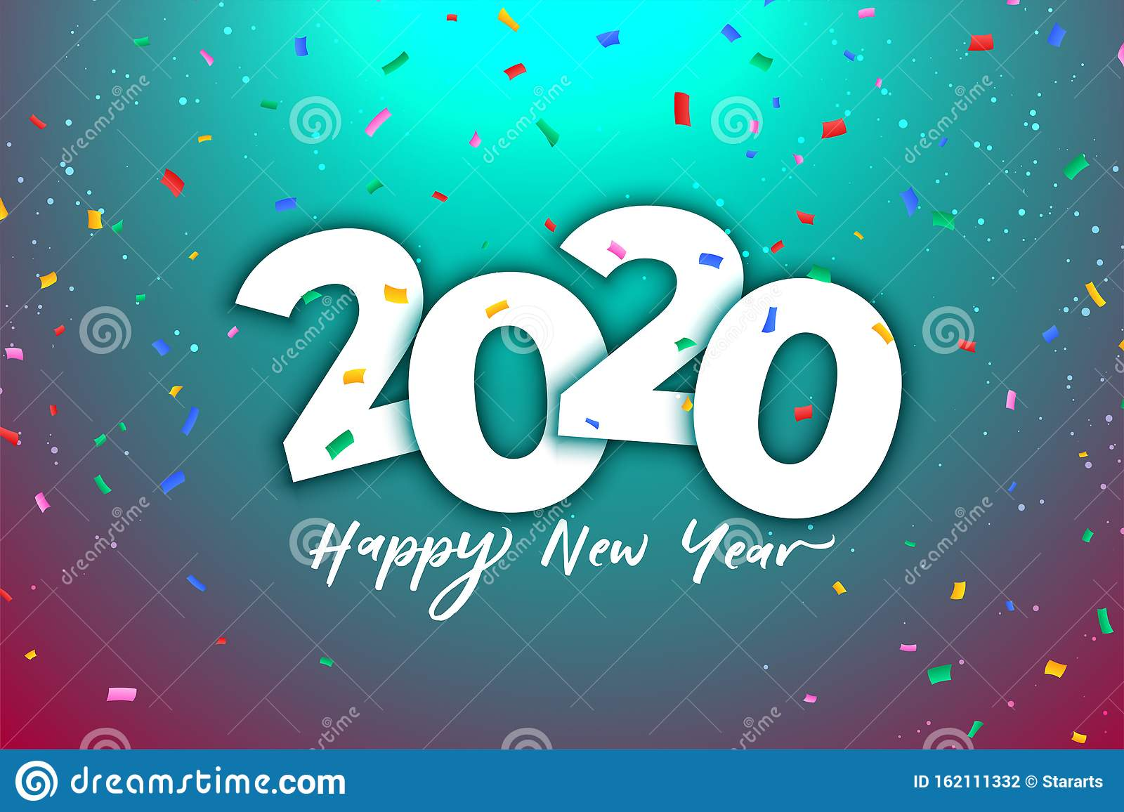 2020 new year celebration background with colorful confetti
