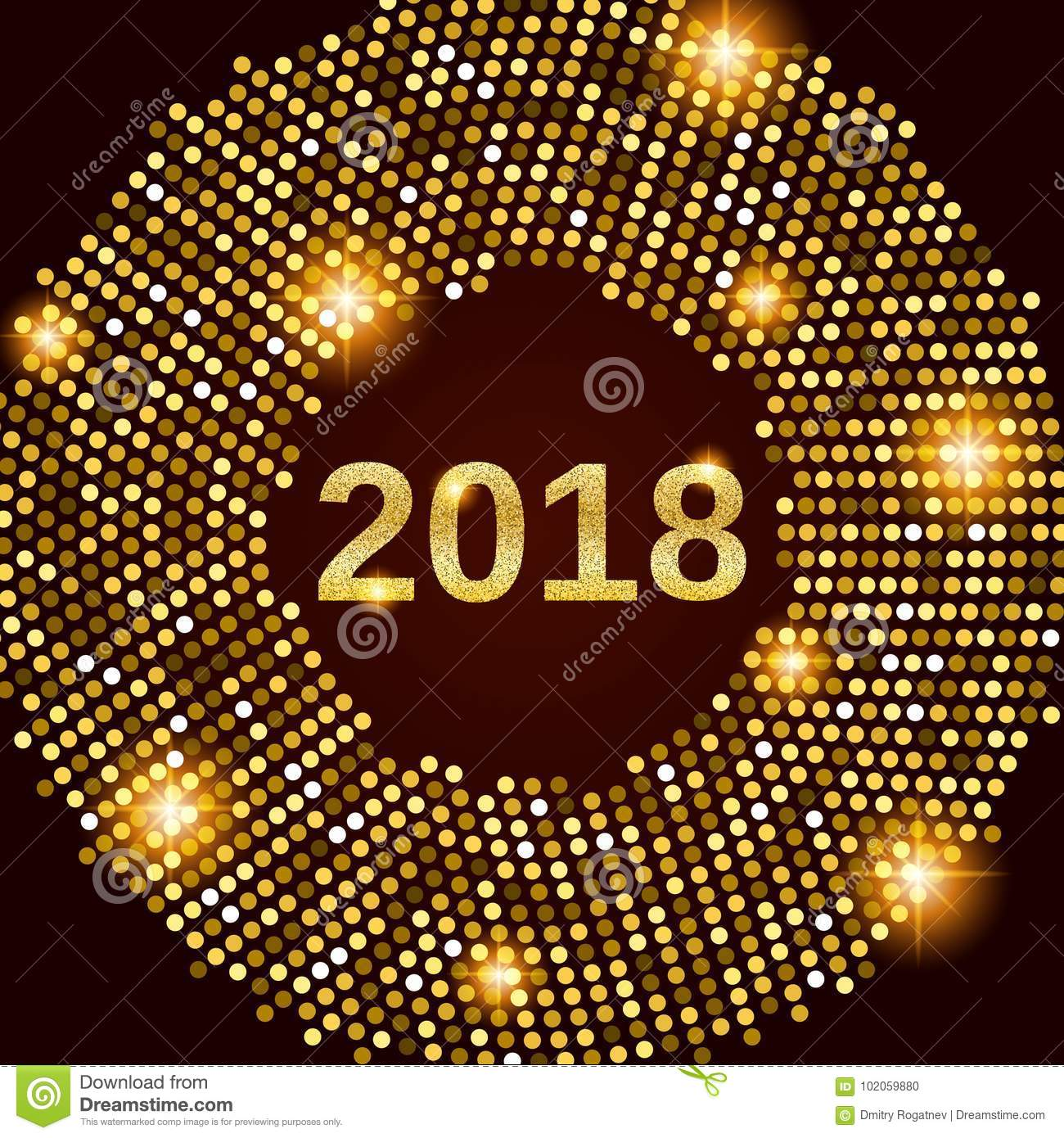 new year 2018 celebration background happy new year gold glitter type on black background with gold disco lights frame greeting card template