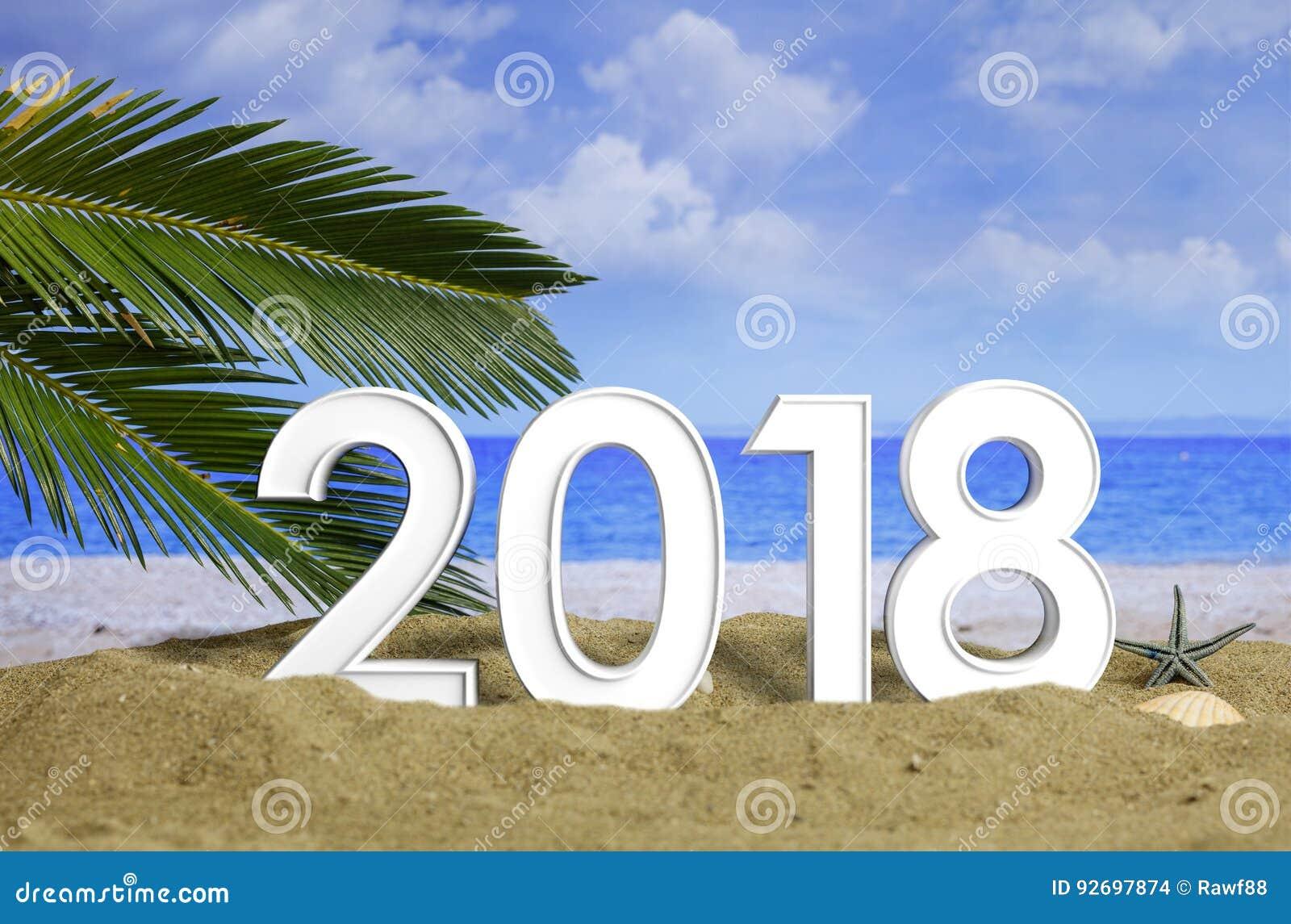 new year 2018 celebration on the beach 3d illustration