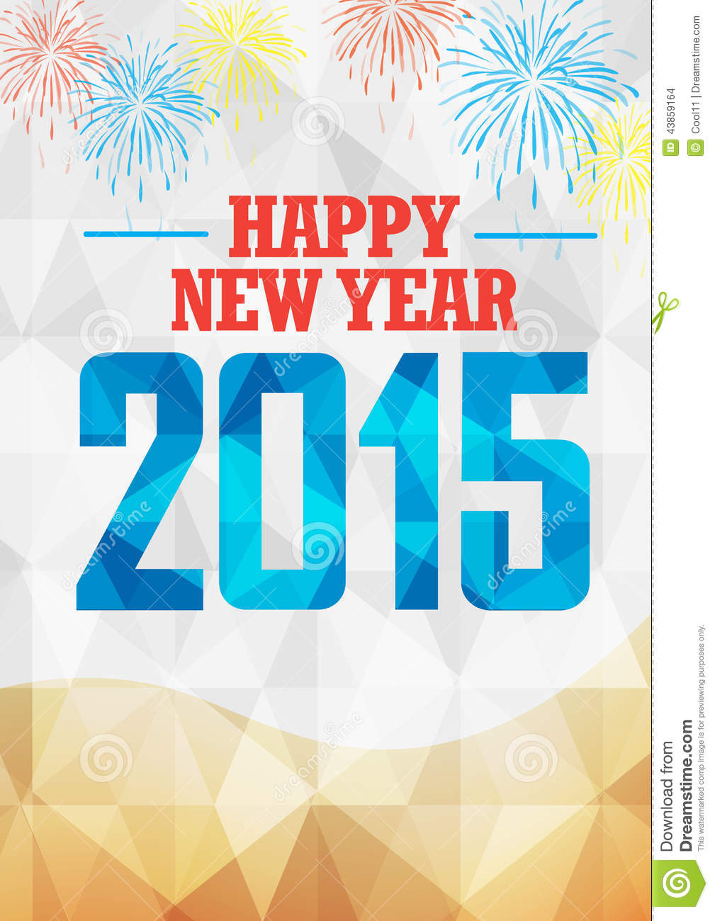 New Year 2015 celebration with fireworks in geometric background