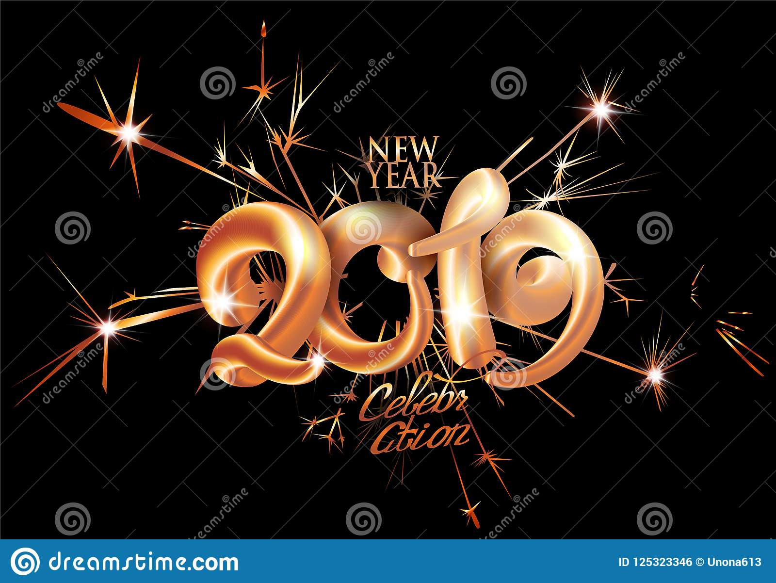 new year 2019 celebration invitation card with fire works and volume numbers