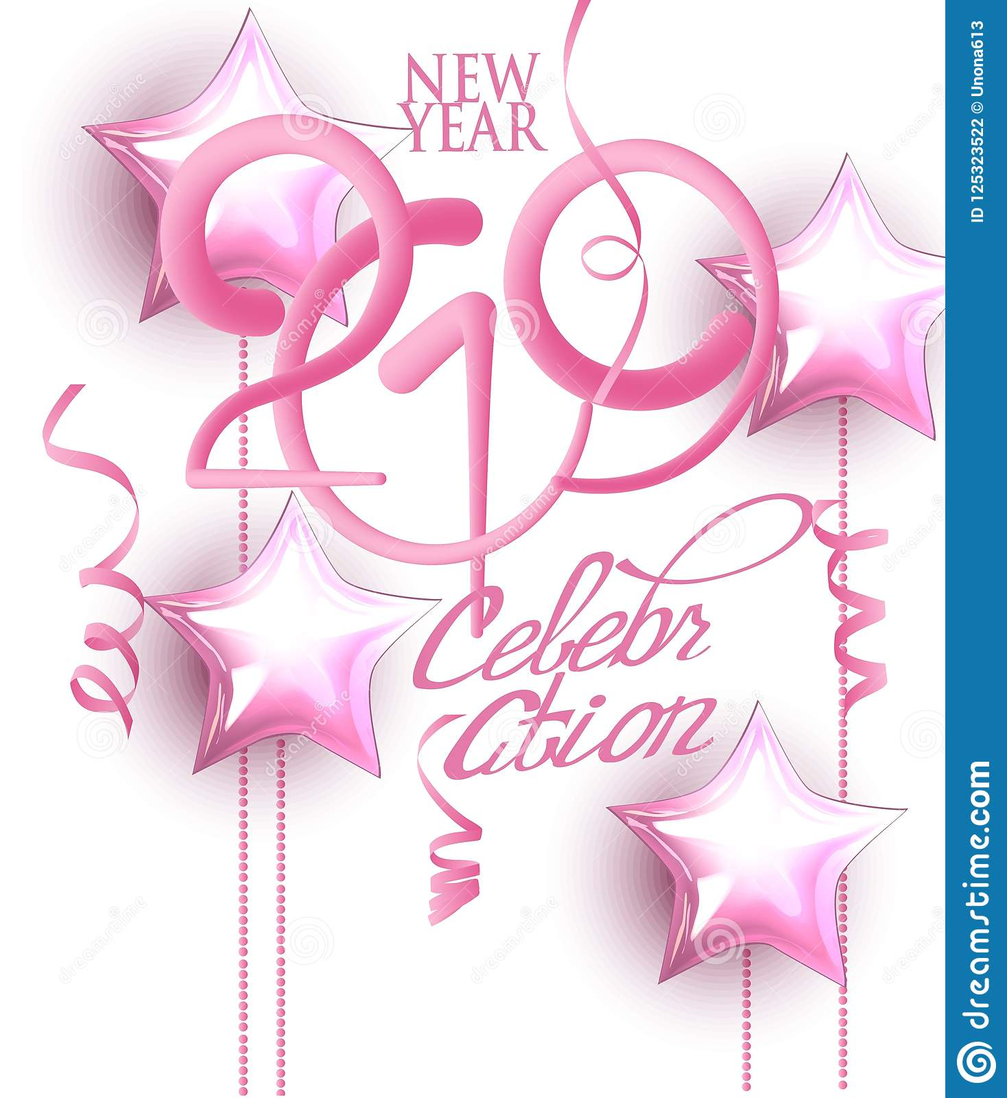 New Year 2019 Celebration Invitation Card With Pink Decorations And