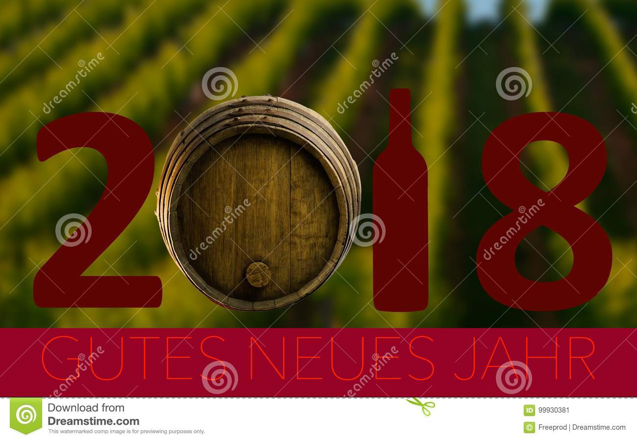 new year celebration with wine 2018 on landscape background