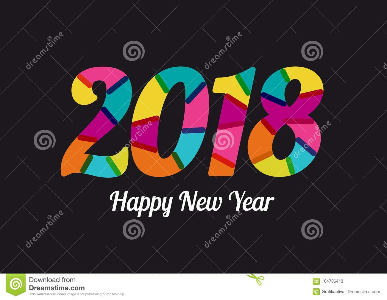 2018 new year with cheerful colors mixed flat colors