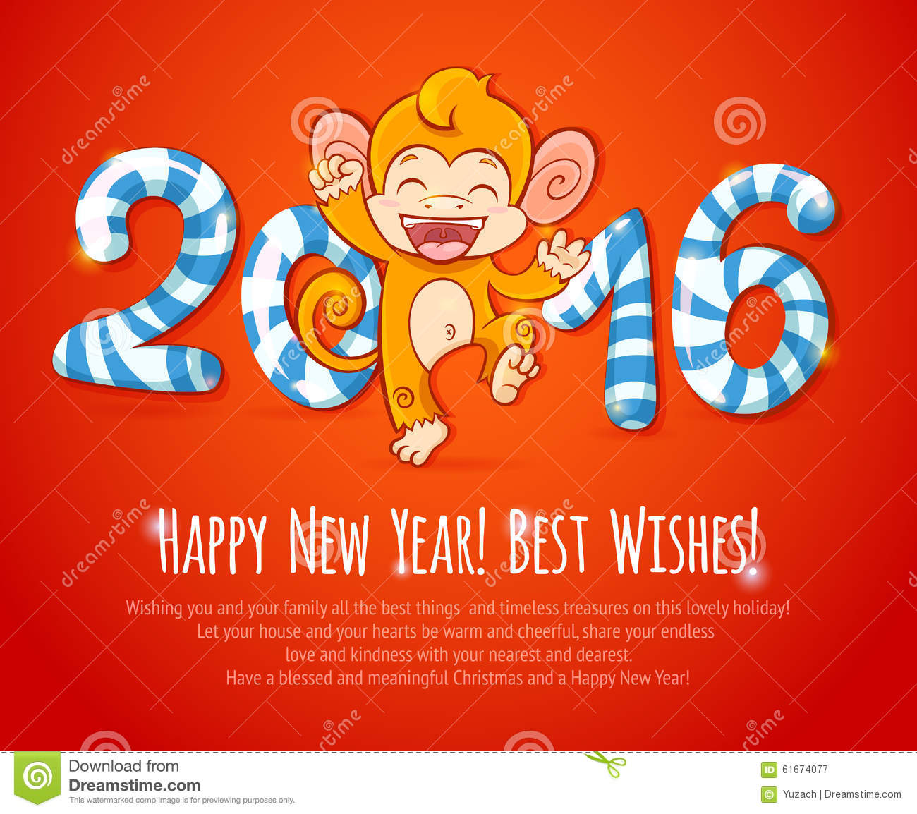new year chinese card with monkey 2016 year