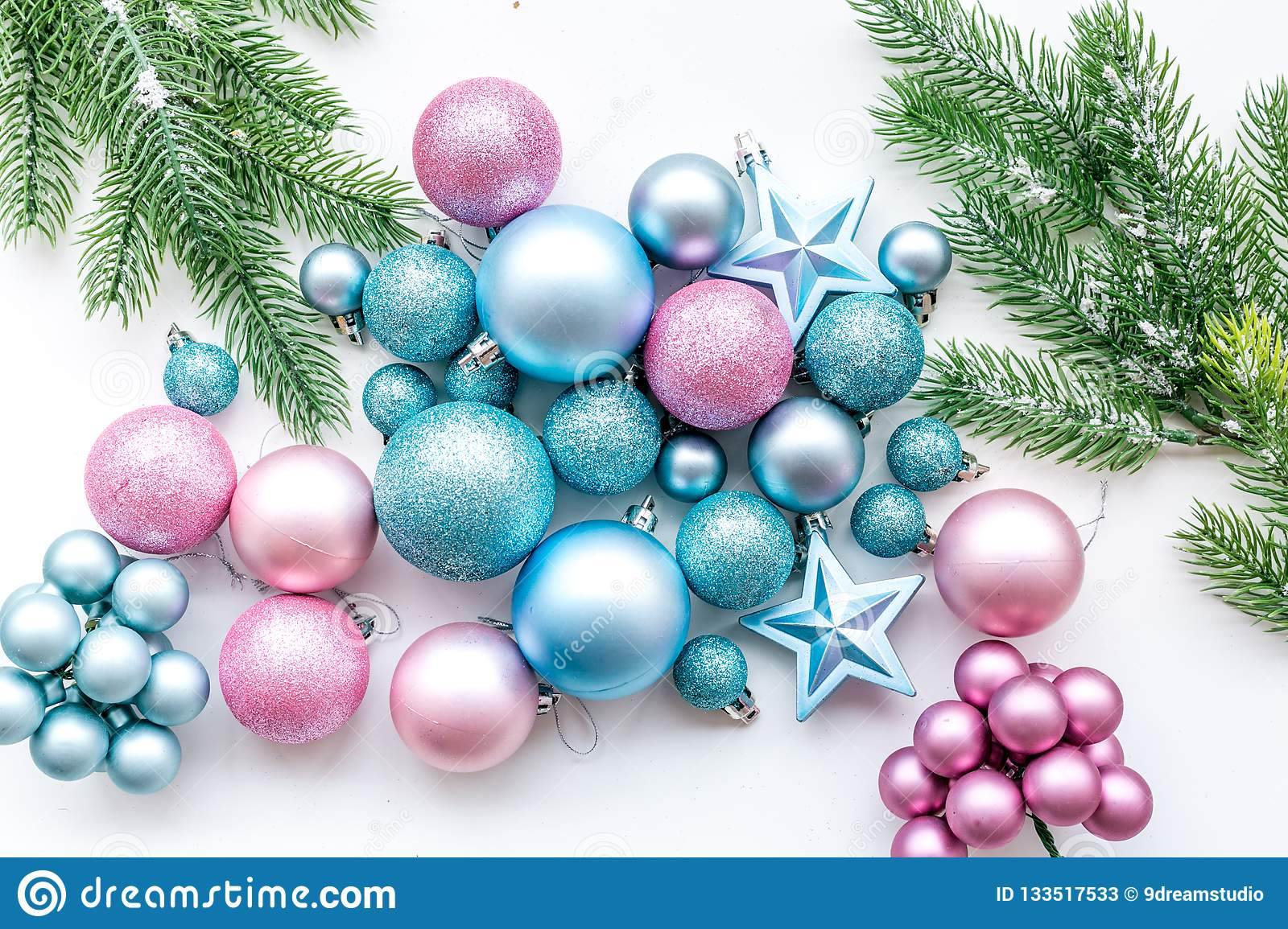 New Year And Christmas Atmosphere Decorate Festive Christmas Tree Christmas Tree Decoration Blue And Pink Balls A Stock Image Image Of Celebrating View 133517533