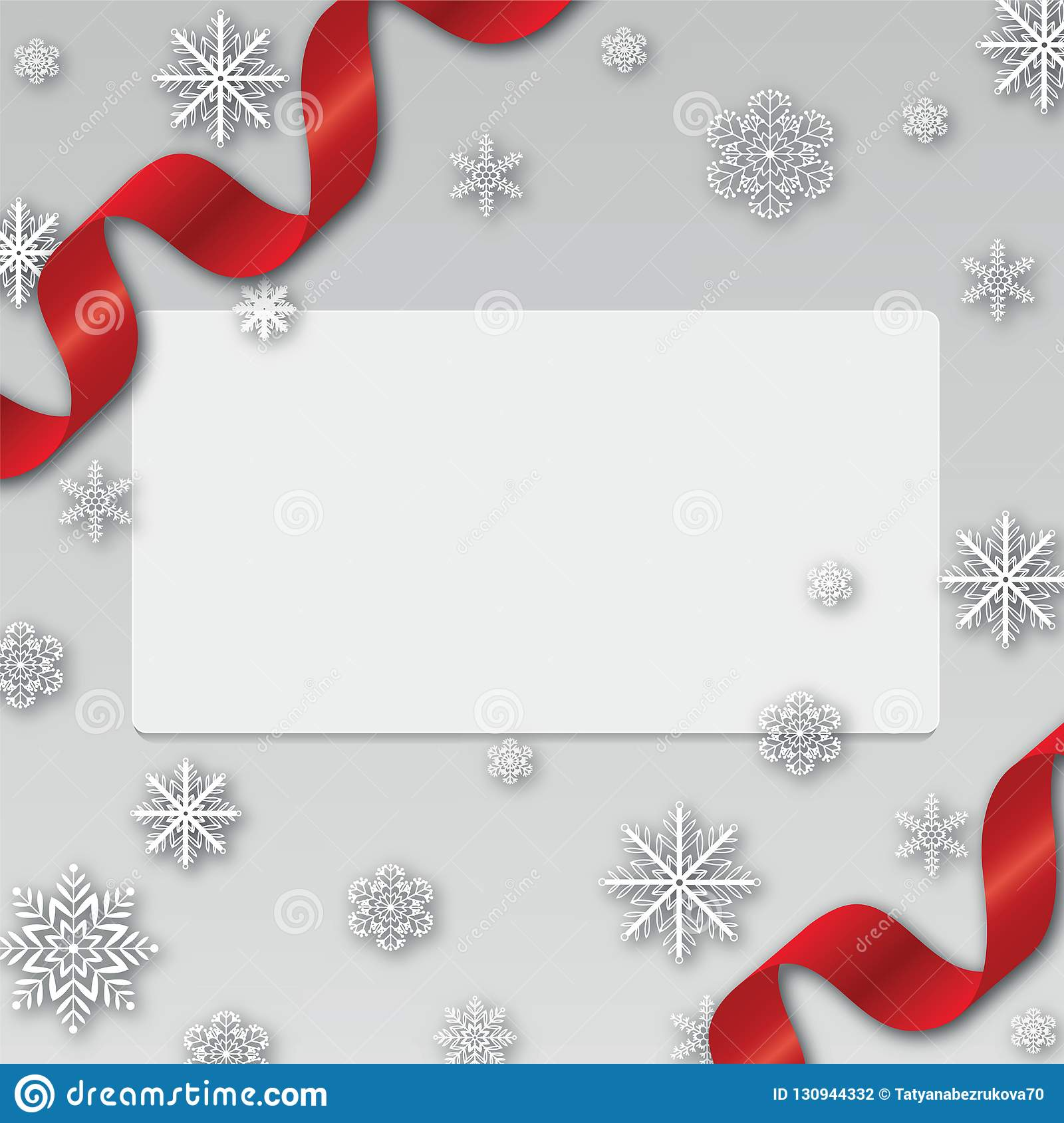 new year christmas background with snowflakes border and ribbon