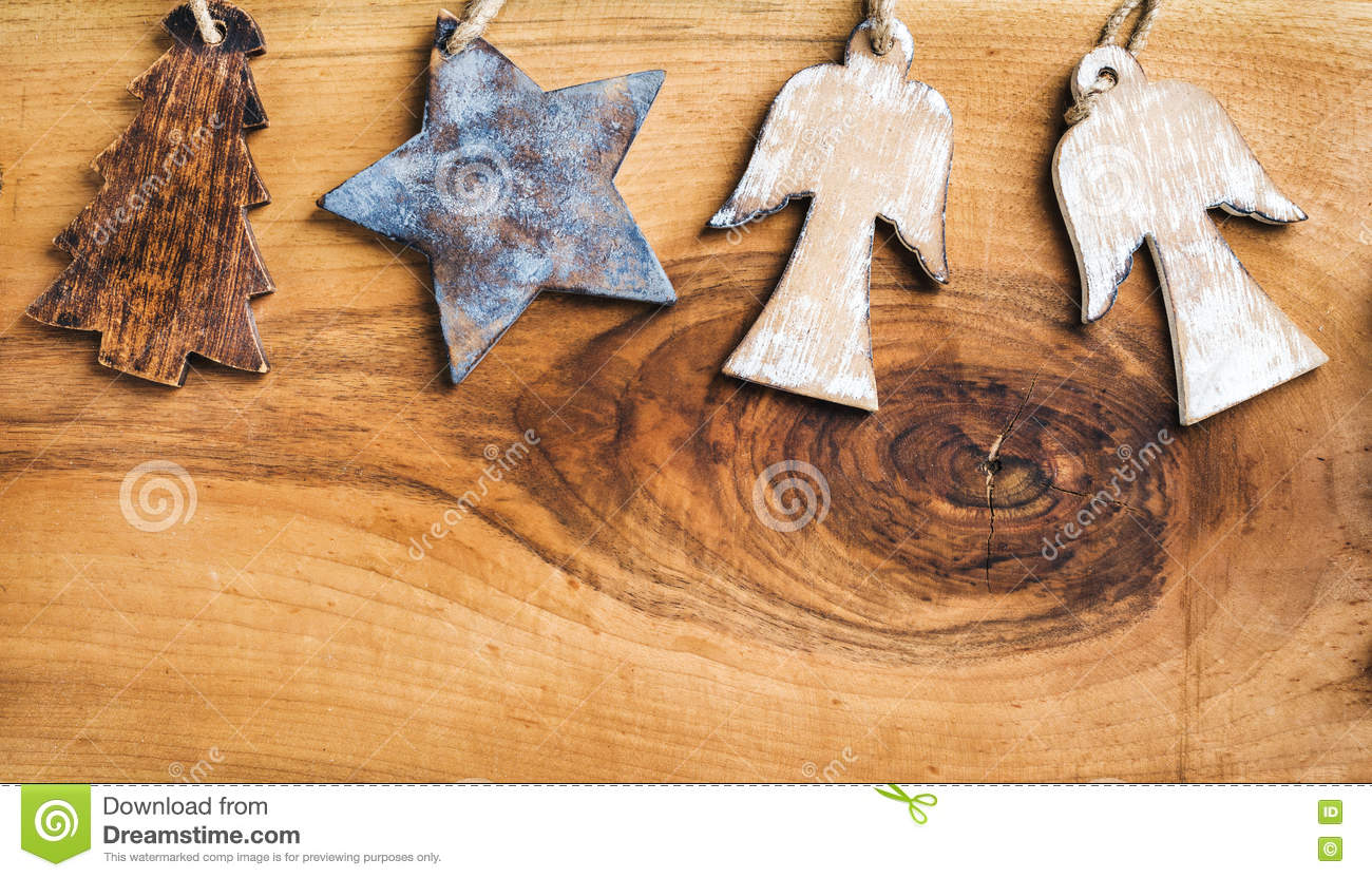 new year or christmas background wooden angels star and fir tree over rustic