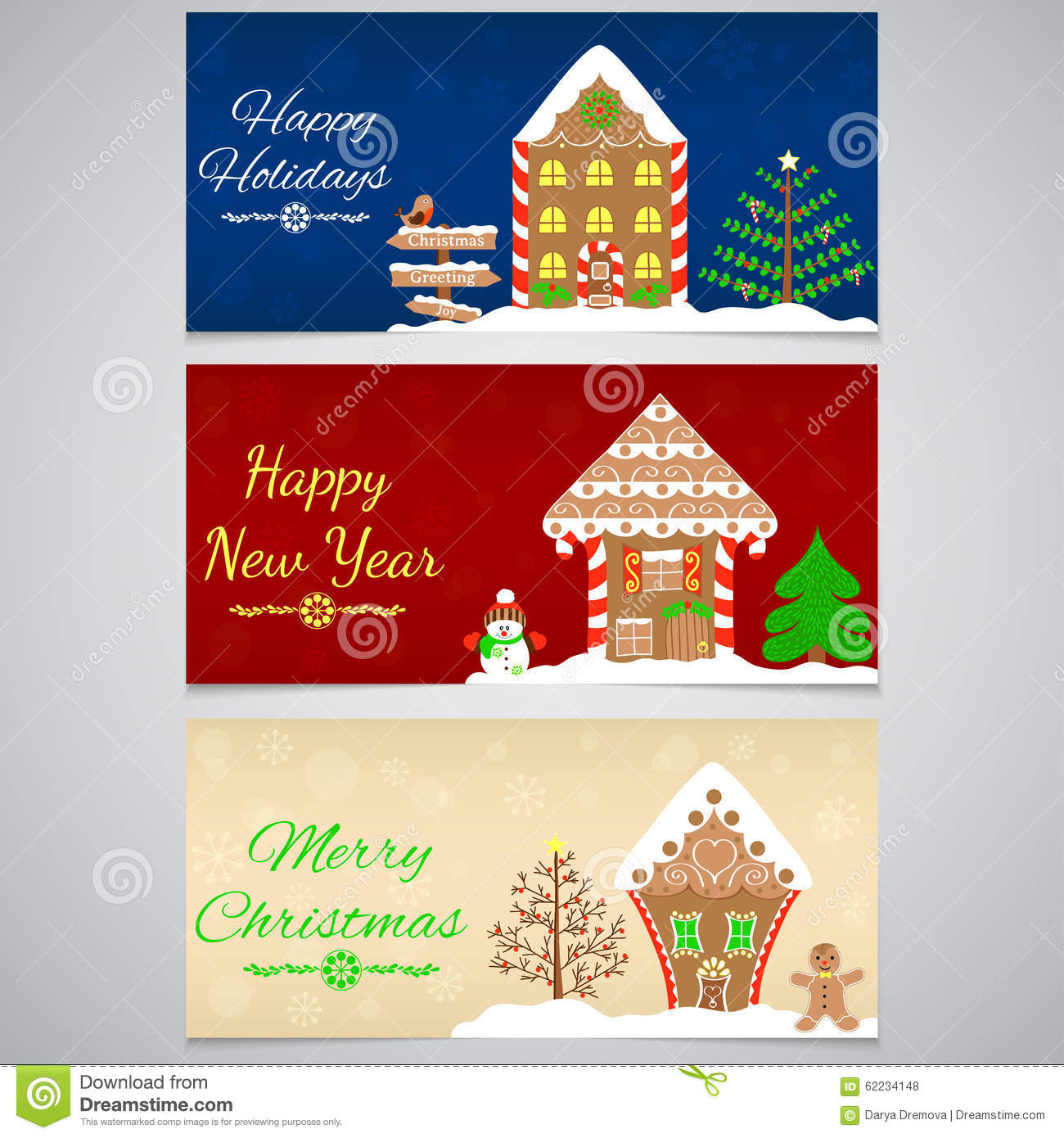 3 New Year, Christmas Banner With Gingerbread House, Tree