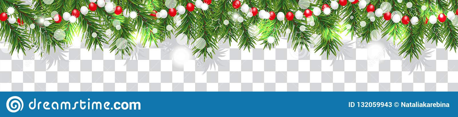 New Year and Christmas border garland of Christmas tree branches and beads on transparent background. Holidays decoration. Vector