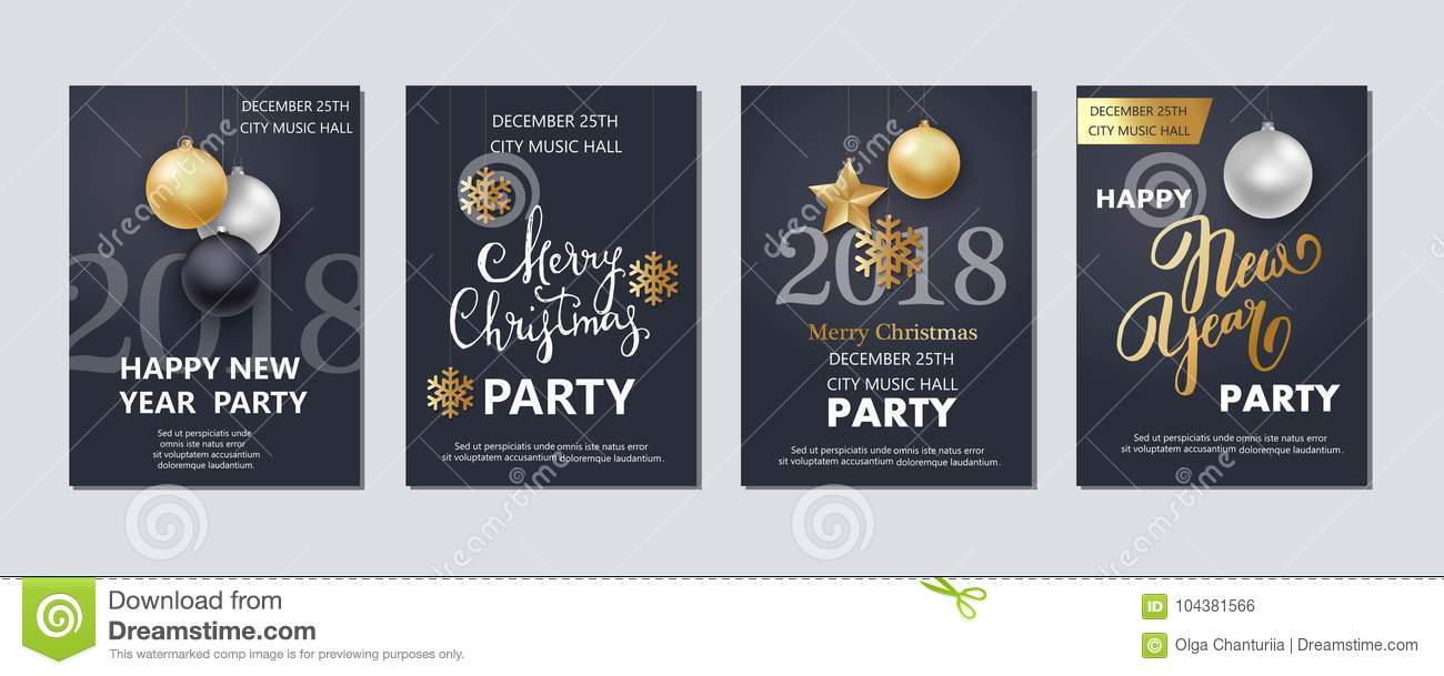 new year and christmas brochure flyer invitation