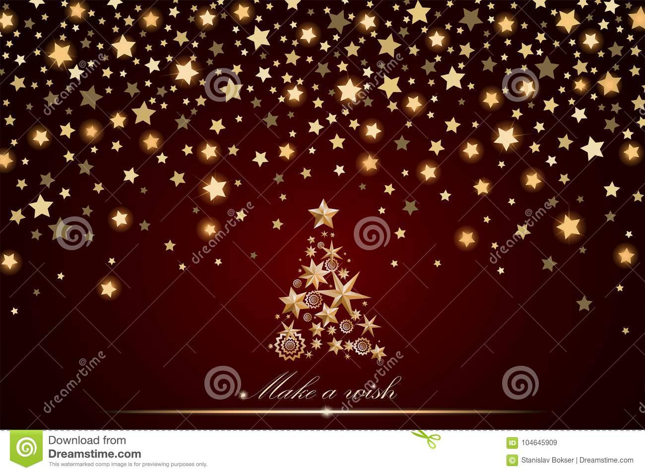 new year and christmas card design gold christmas tree made of