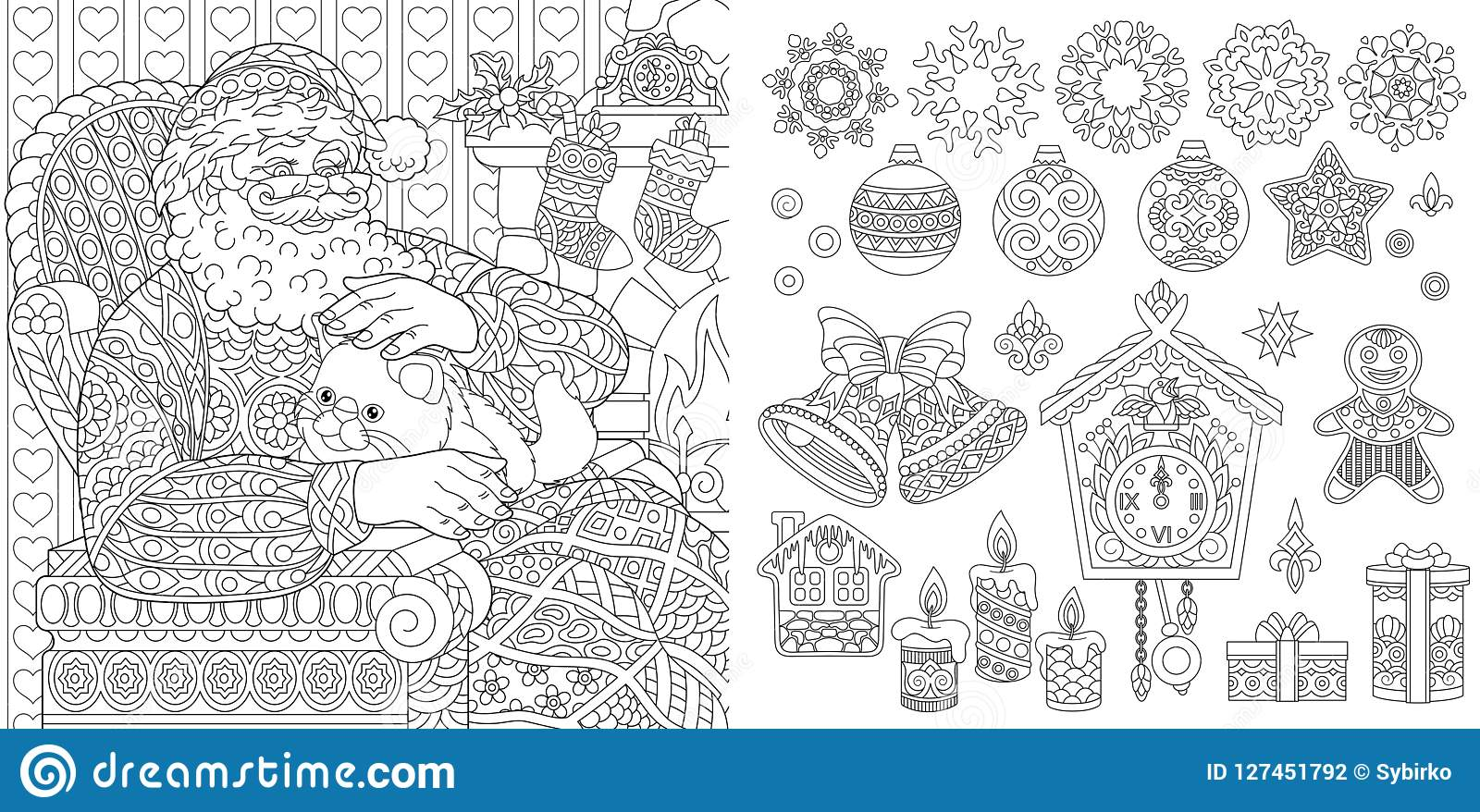- New Year Christmas Coloring Page Stock Vector - Illustration Of