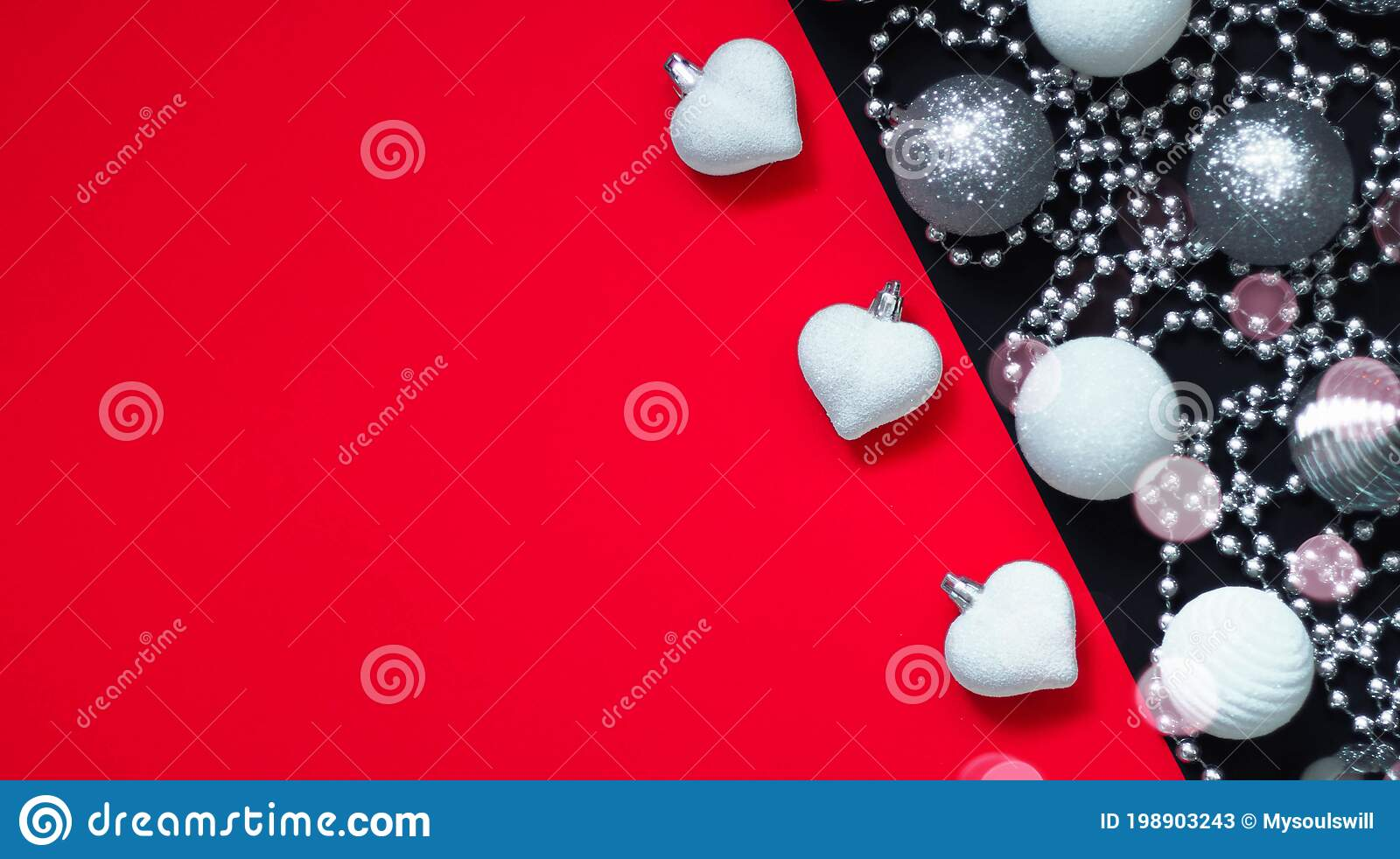 Christmas New Year Stylish Flat Lay Composition With White And Silver Decorations On Red Black Background Stock Image Of Ornament 198903243