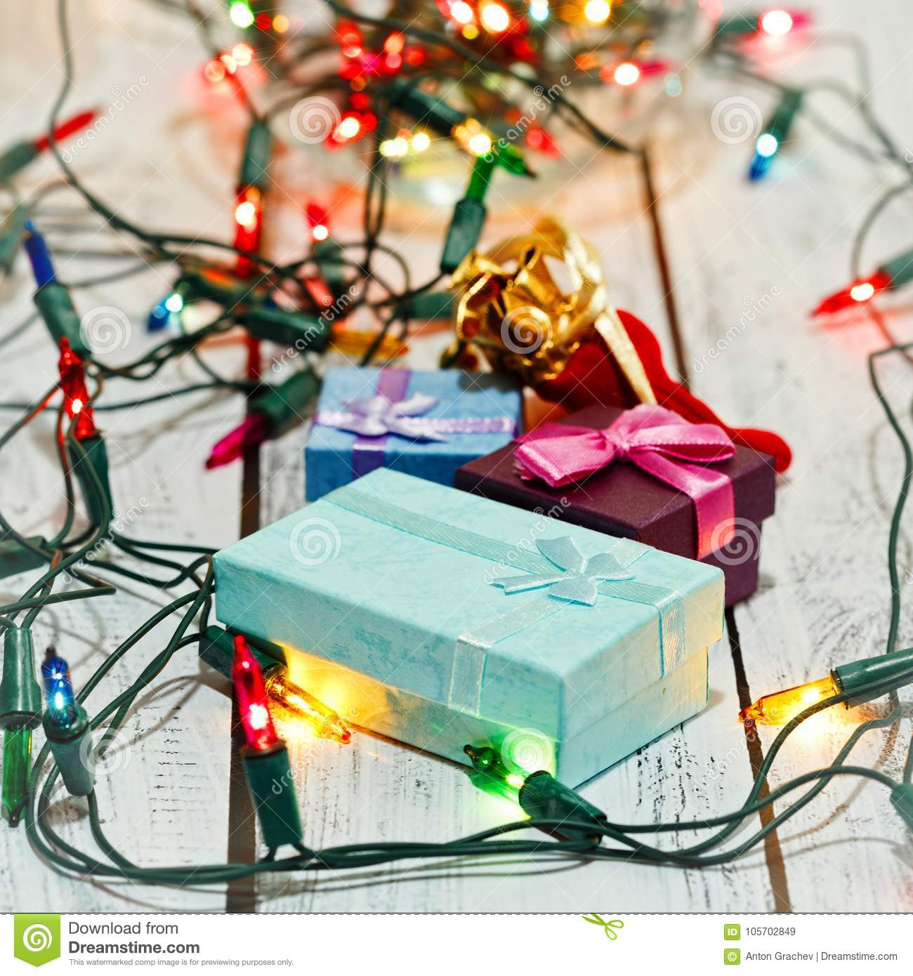 New Year And Christmas Gifts, Square Capture Stock Image - Image of ...