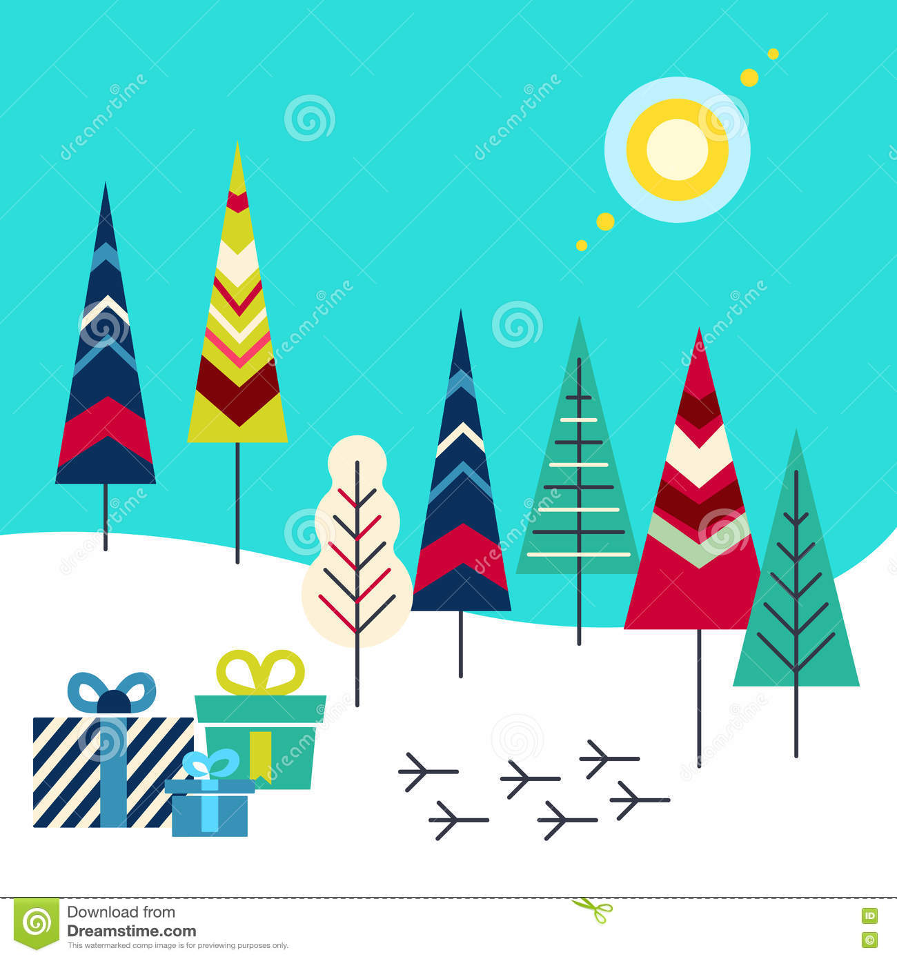 New Year And Christmas Greeting Card Presents In The Forest Stock