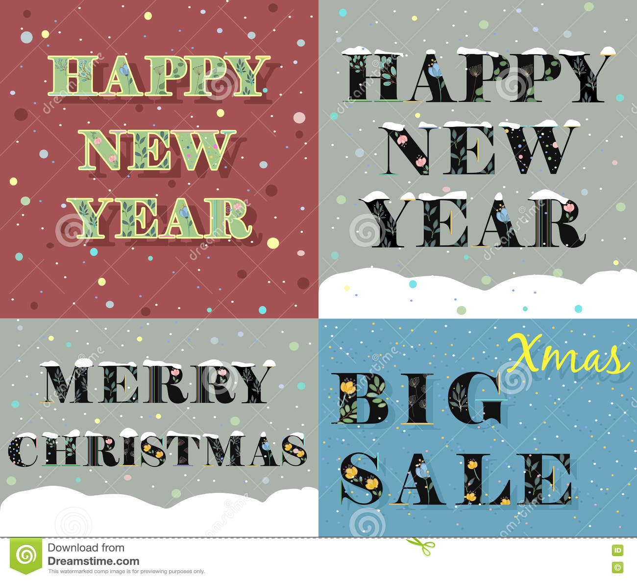 New Year And Christmas Greeting Cards Stock Vector Illustration Of