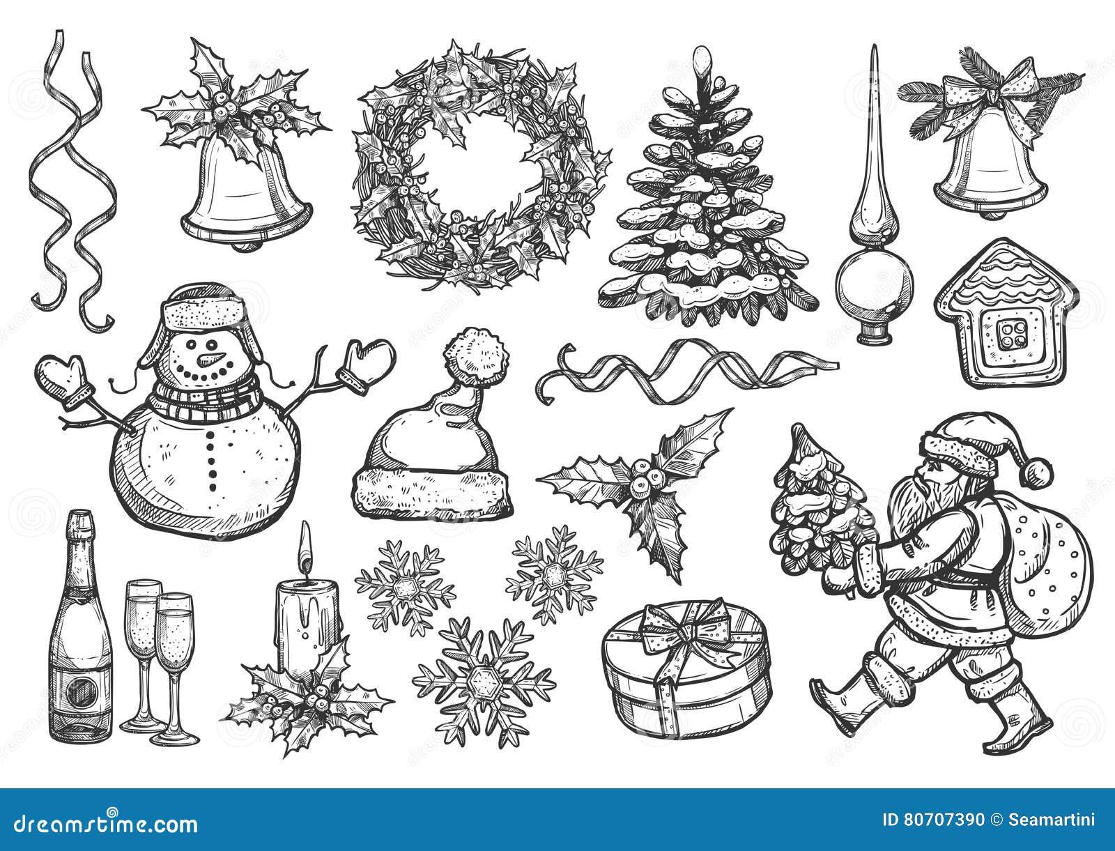 New Year Christmas Holiday Vector Sketch Symbols Stock Vector - Illustration 80707390