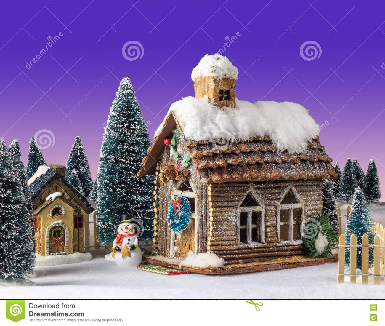 New Year Christmas House Decorated With Snow Figure Snowman Stock