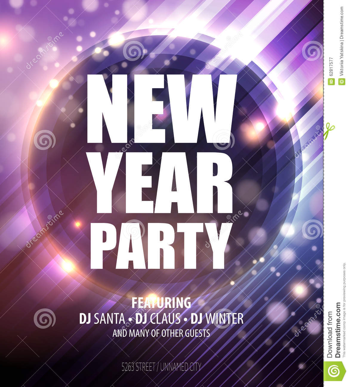 New Year And Christmas Party Poster Template Vector Image – New Year Poster Template