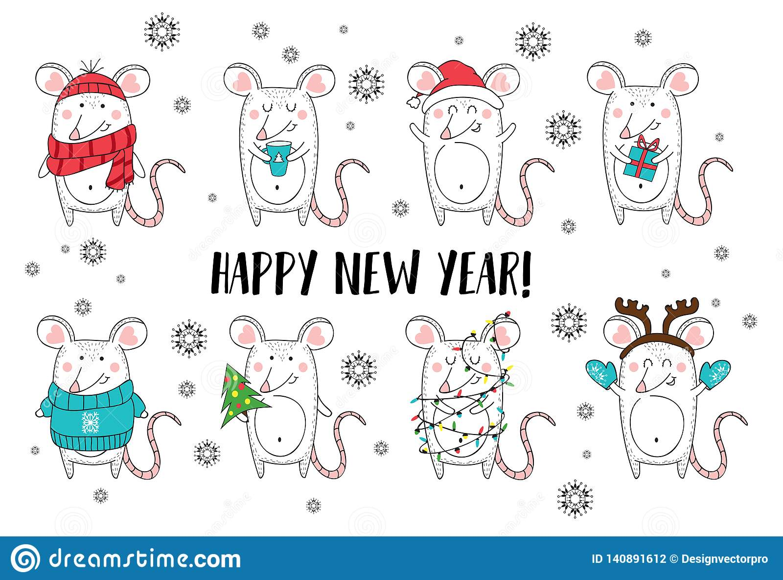 New year and Christmas rat characters.Christmas animals simple illustration for greeting cards, calendars, prints etc. Hand draw
