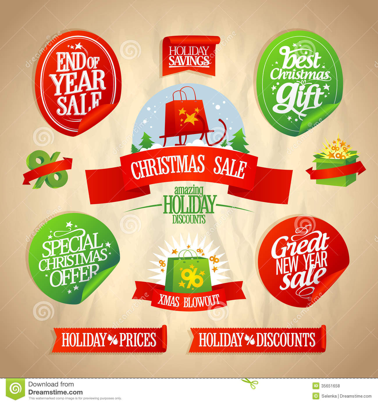 New Year And Christmas Sale Designs Collection. Stock ...