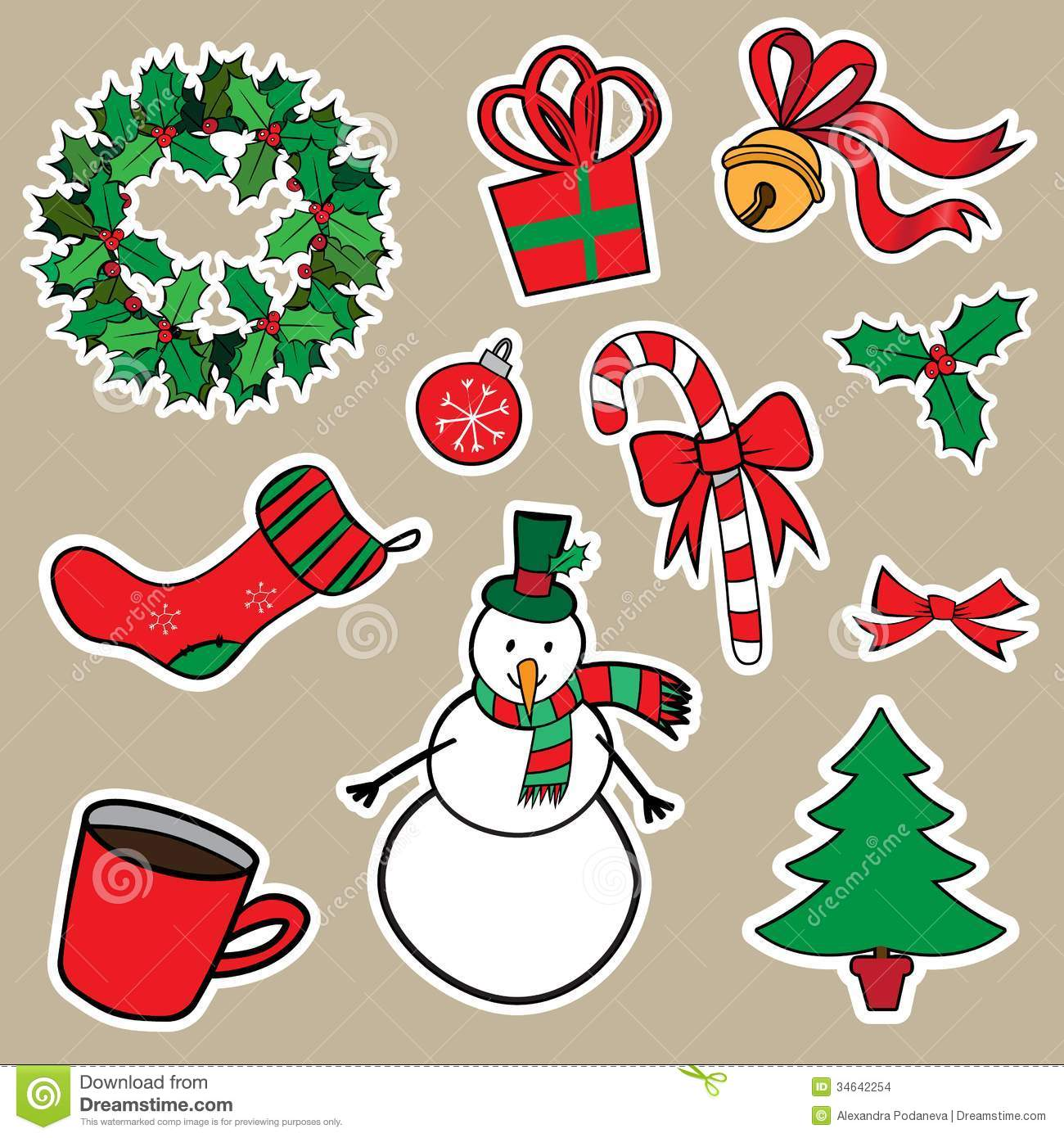 New Year And Christmas Sticker Icons Stock Images - Image: 34642254