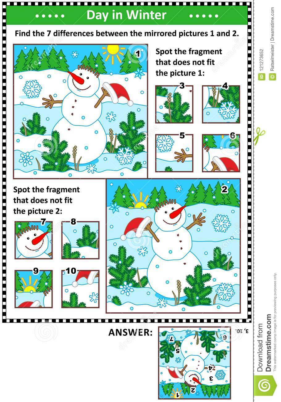 Winter holidays picture puzzles with cheerful snowman