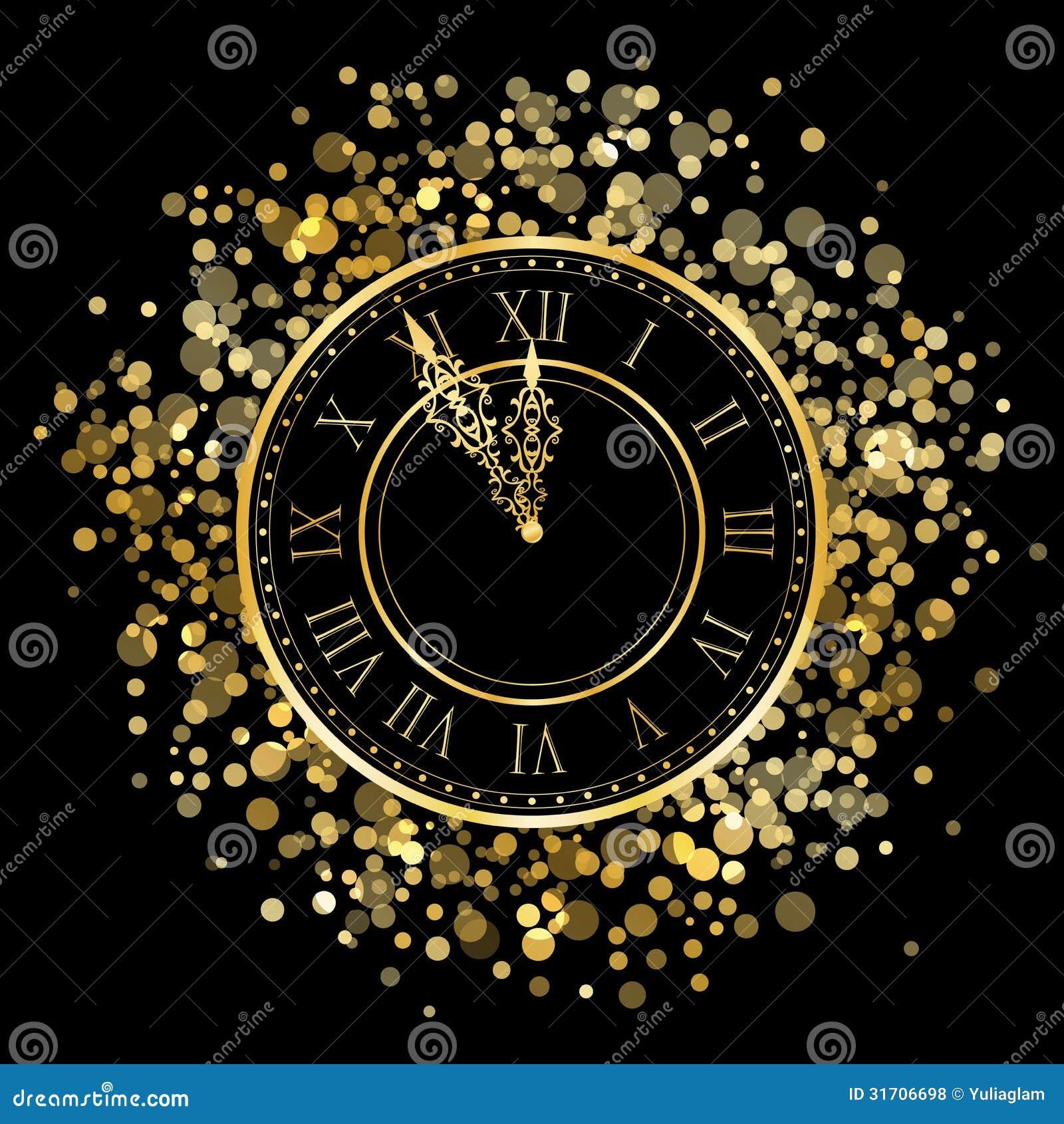 New Year Clock stock vector. Image of 2015, midnight ...