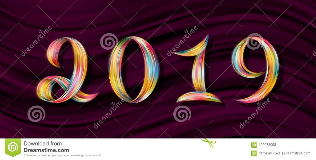 New year 2019 color flow numbers pink background stock - New year 2019 color ...