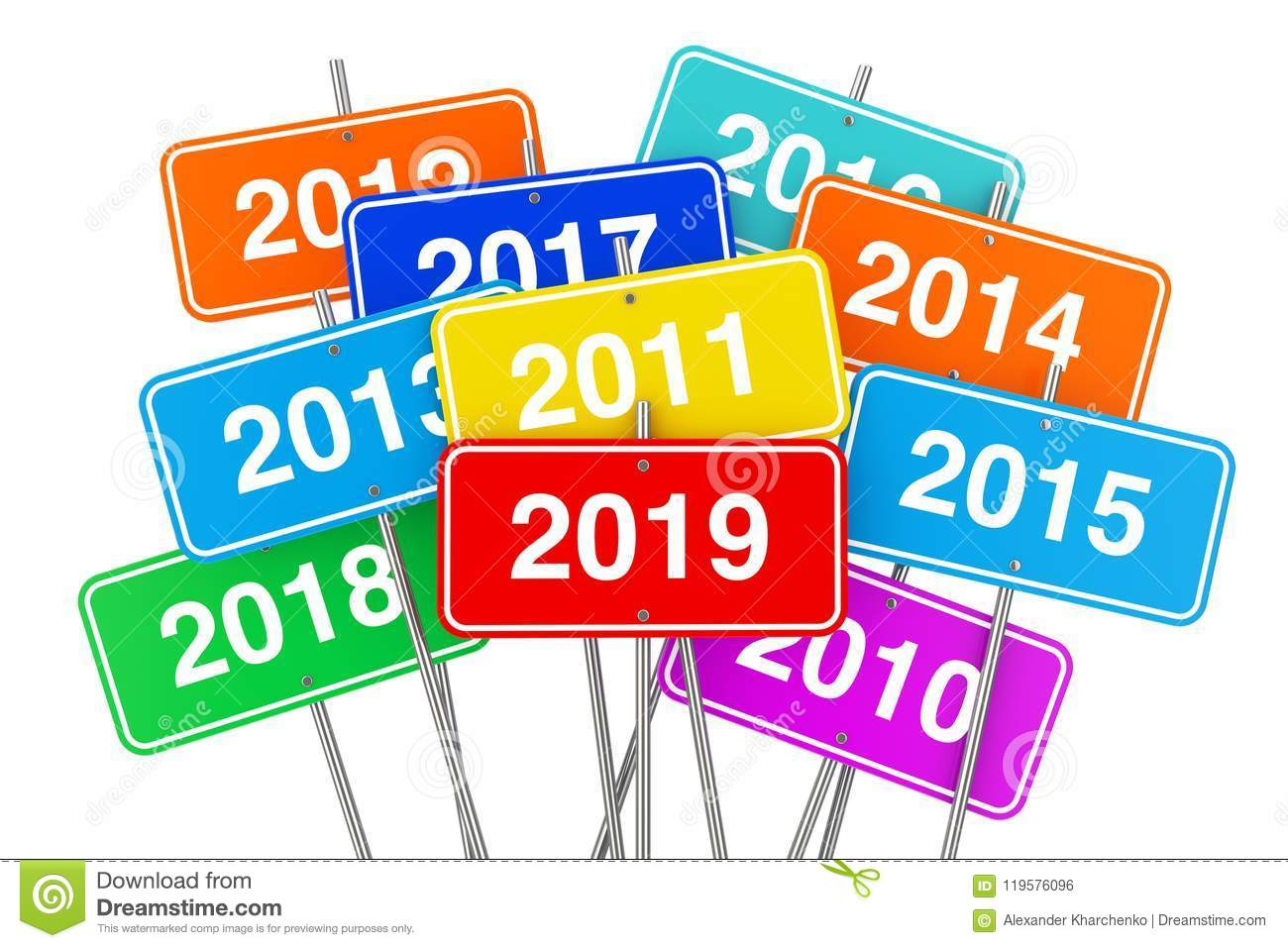 2019 New Year Color Signs. 3d Rendering Stock Illustration ...