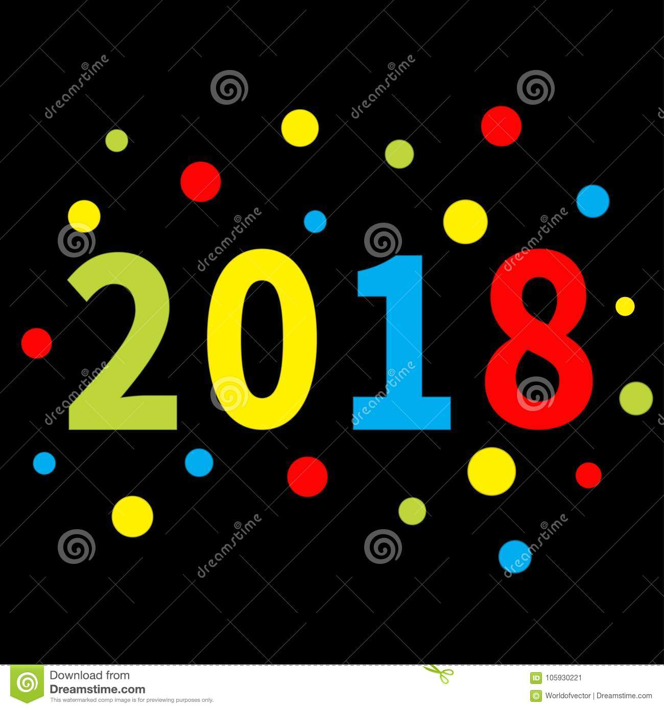 2018 new year colorful round dot template for greeting card template for greeting card calendar presentation flyer leaflet postcard and poster paper kristyandbryce Images