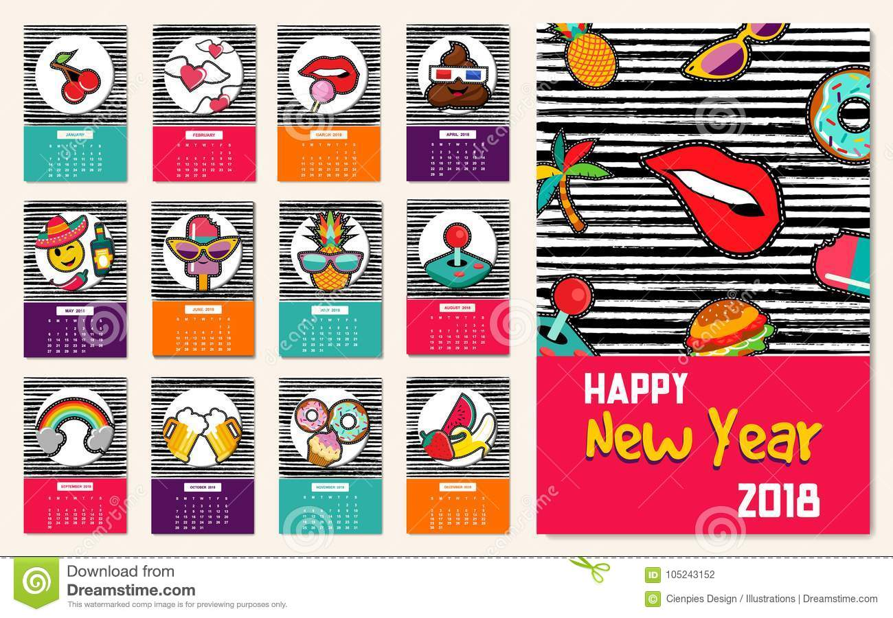new year 2018 comic patch iconsset calendar template