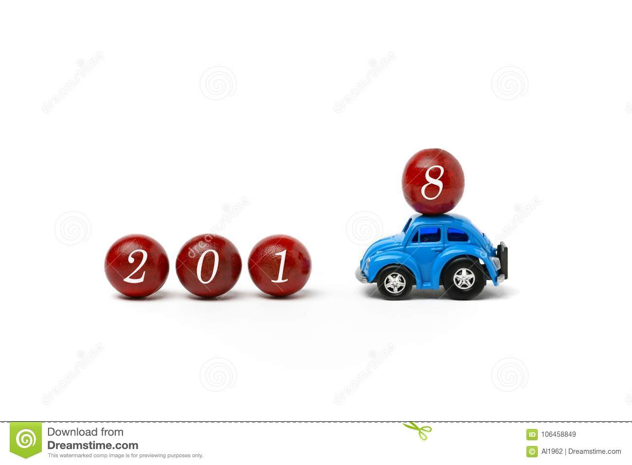 New Year 2018 is coming - Happy New Year 2018 - car that brings